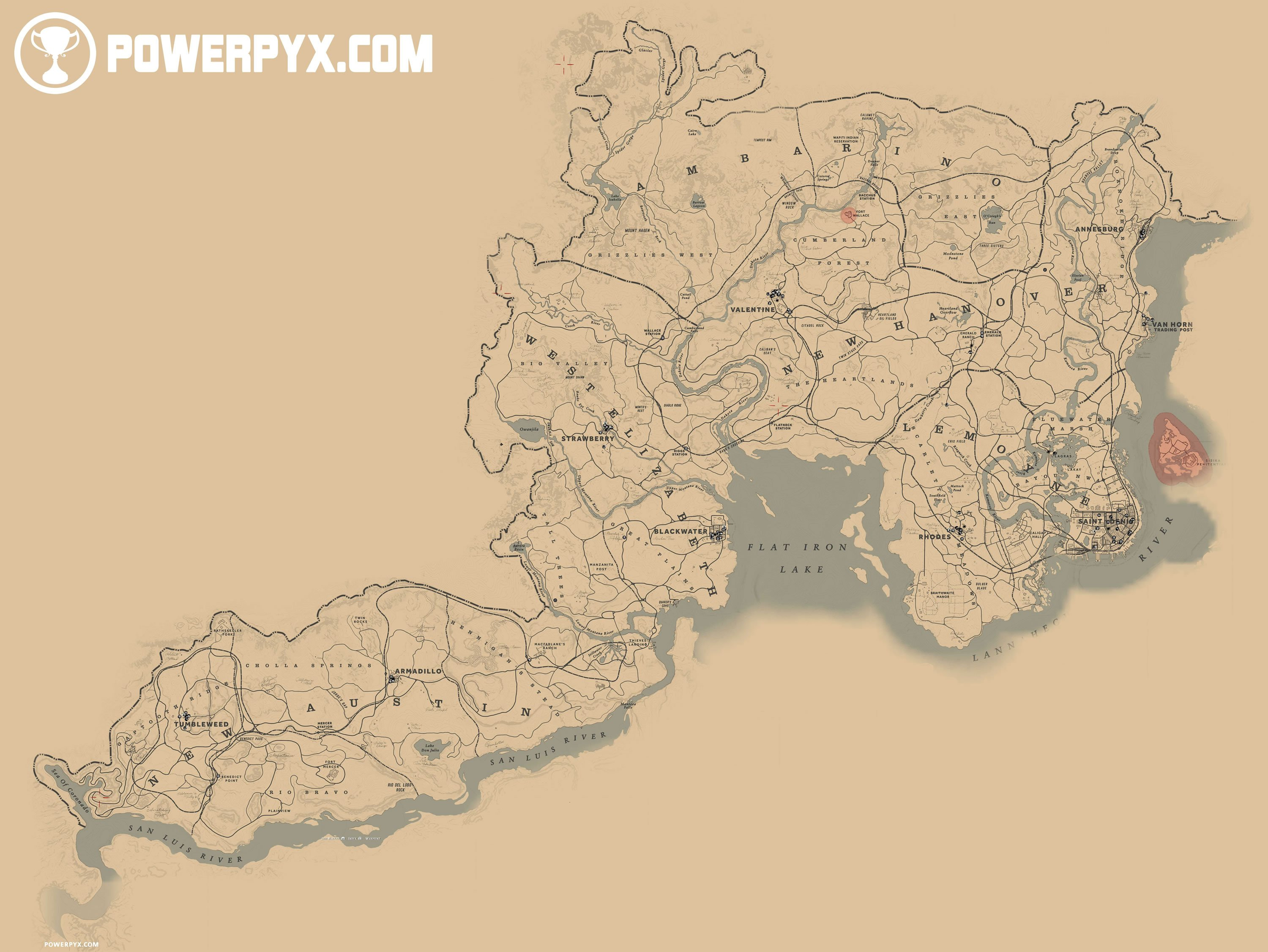 where does Red Dead Redemption 2 take place full game map
