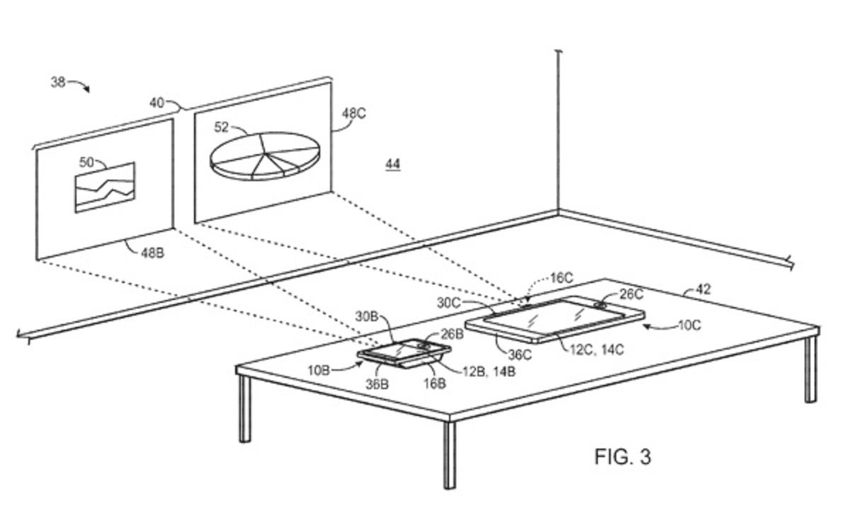 Another Apple patent that implied the company was thinking about incorporating projectors into iOS devices.