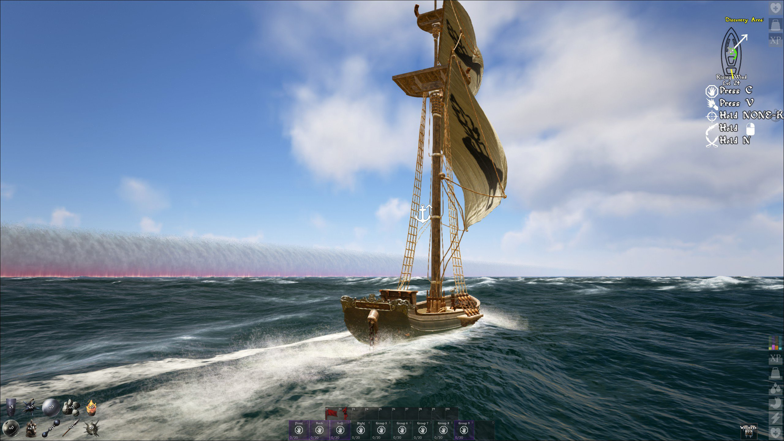 Atlas exploring on a sloop