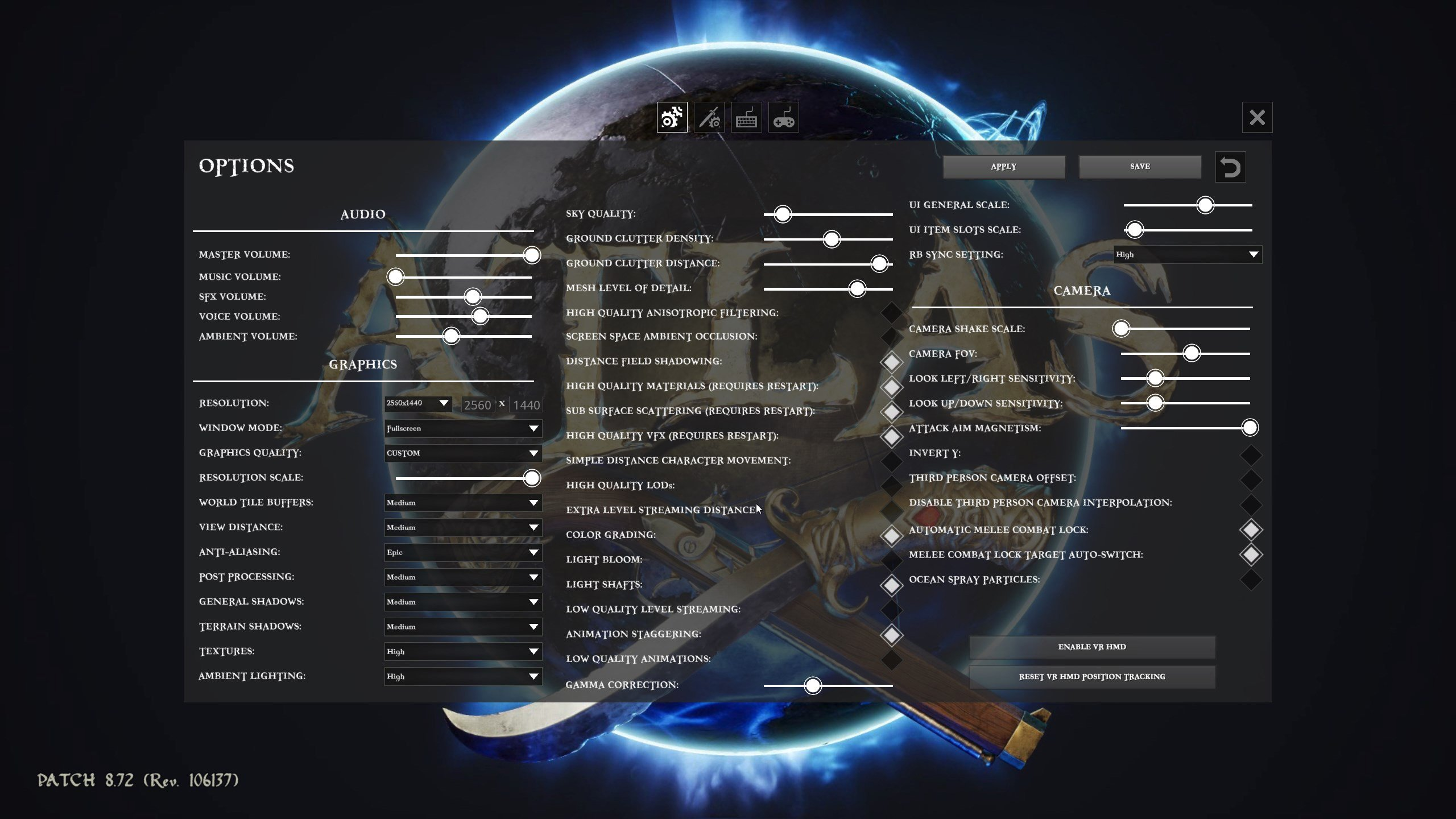 Atlas in-game settings