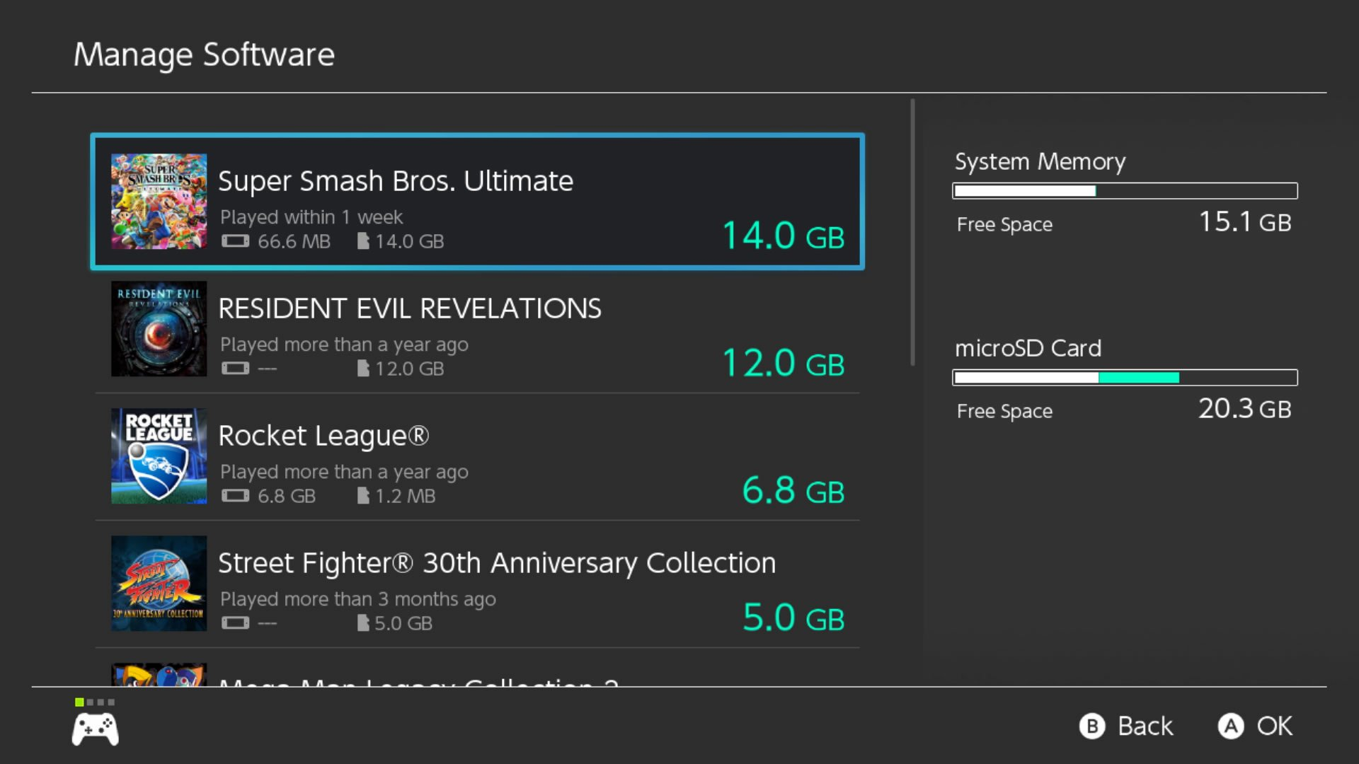 Super Smash Bros Ultimate download size Switch storage settings