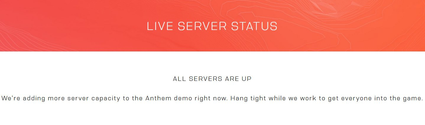 Anthem servers down - Check EA server live status | Shacknews