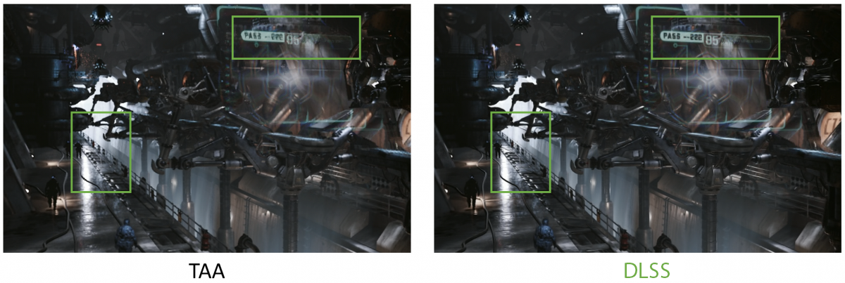 NVIDIA RTX DLSS vs. TAA comparison graphics