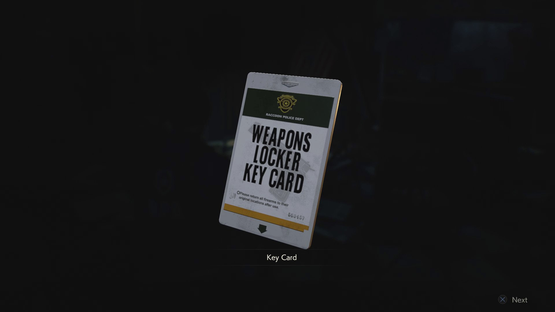 RE2 remake weapons locker keycard