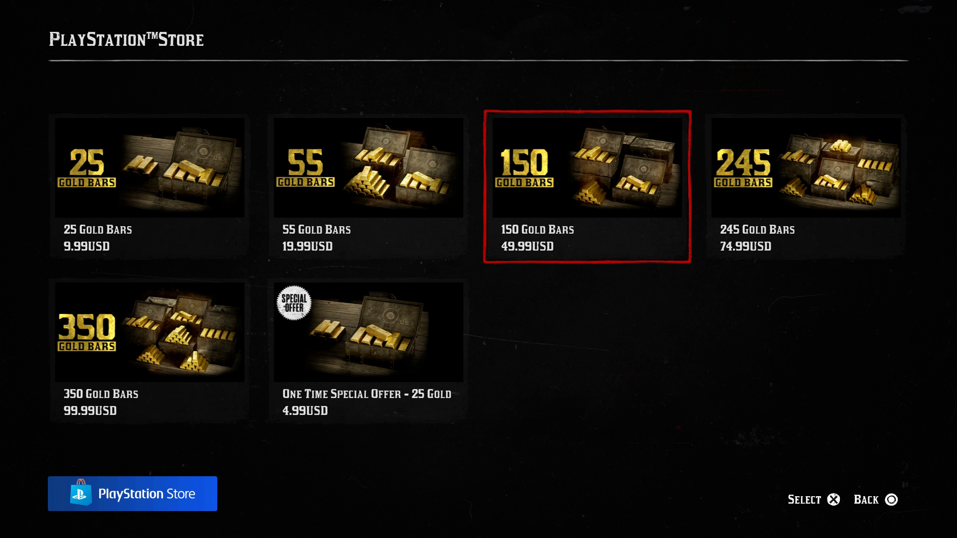 Red Dead Online Gold Bar purchase options