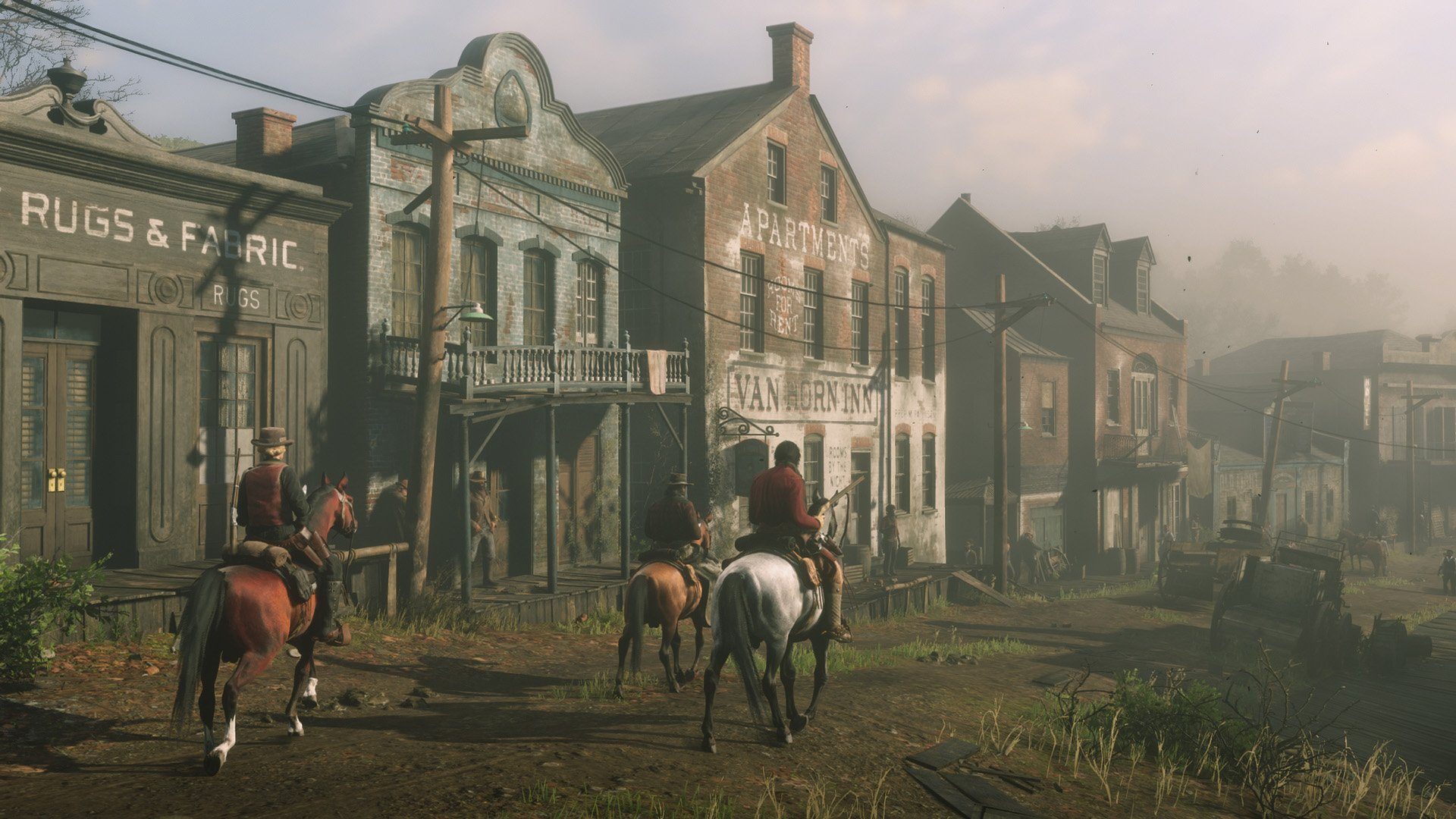 Red Dead Online posse riding into town
