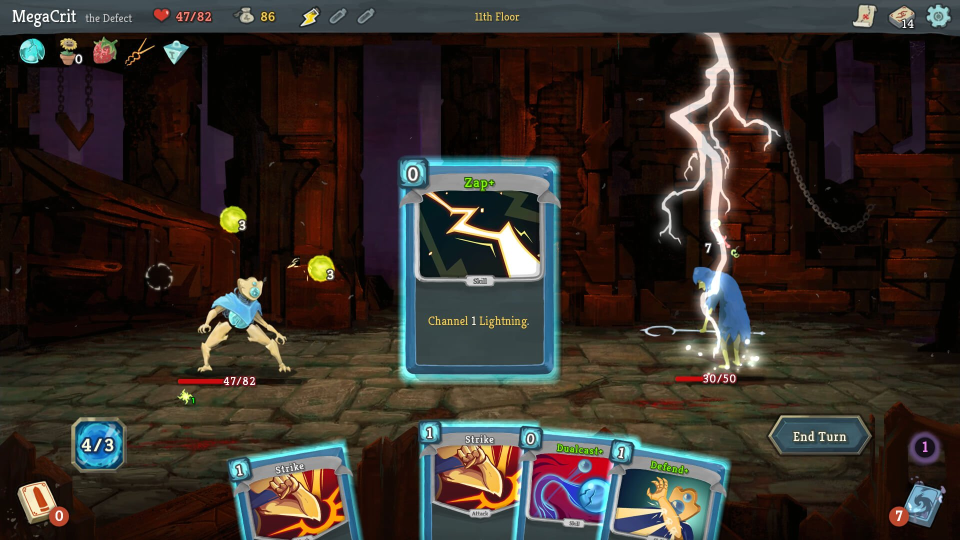 Slay the Spire in-game deck and battle