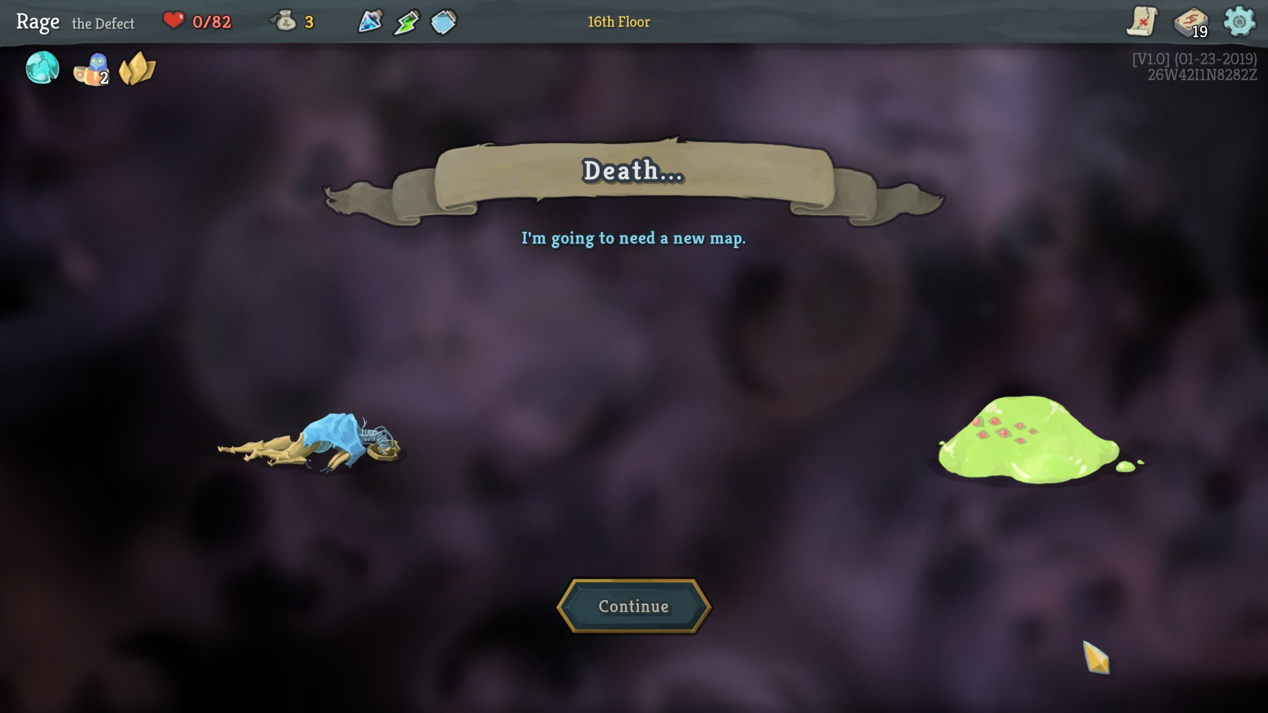 Slay the Spire death screen