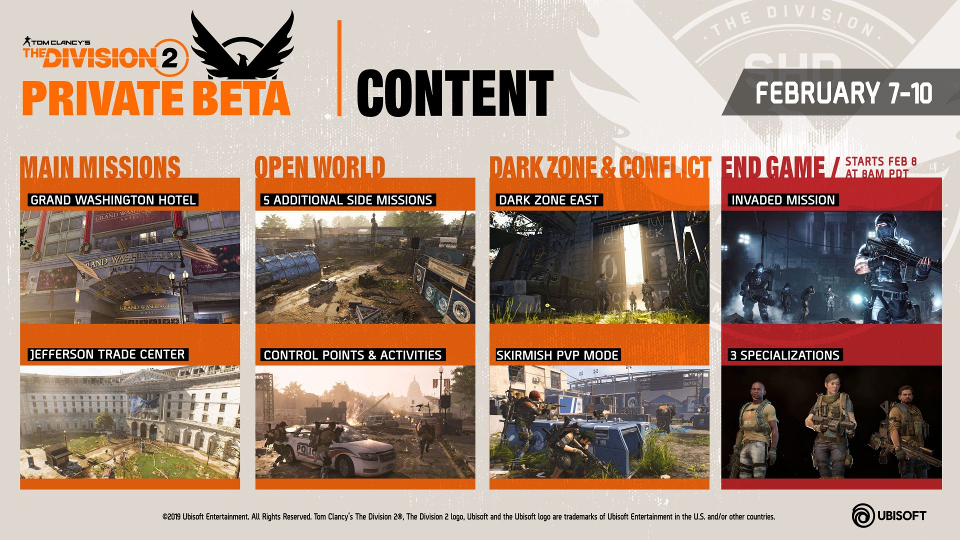 tom clancy the division 2 ubisoft private beta schedule access endgame