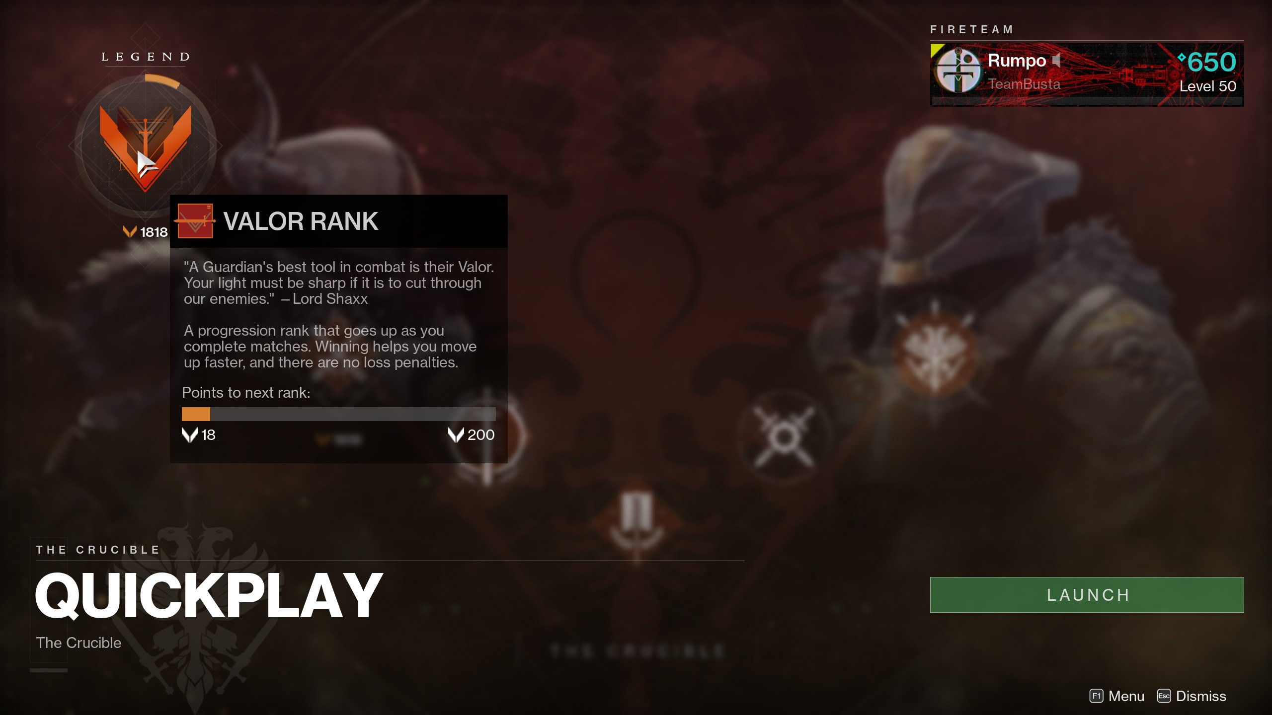 Crucible Valor ranks and point requirements in Destiny 2