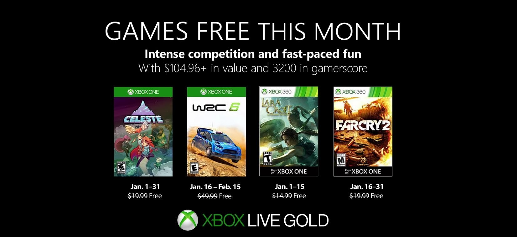 xbox live games with gold january free games celeste wrc 6 tomb raider far cry