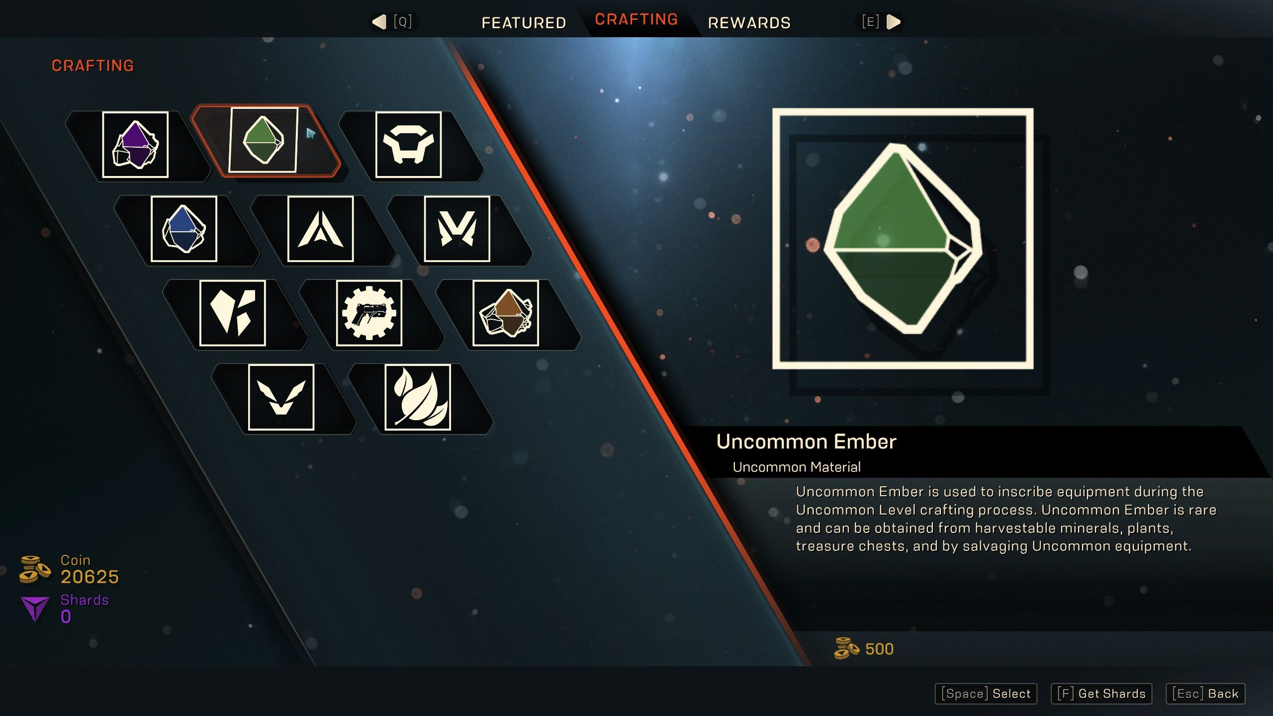 Purchase crafting materials from the store in Anthem