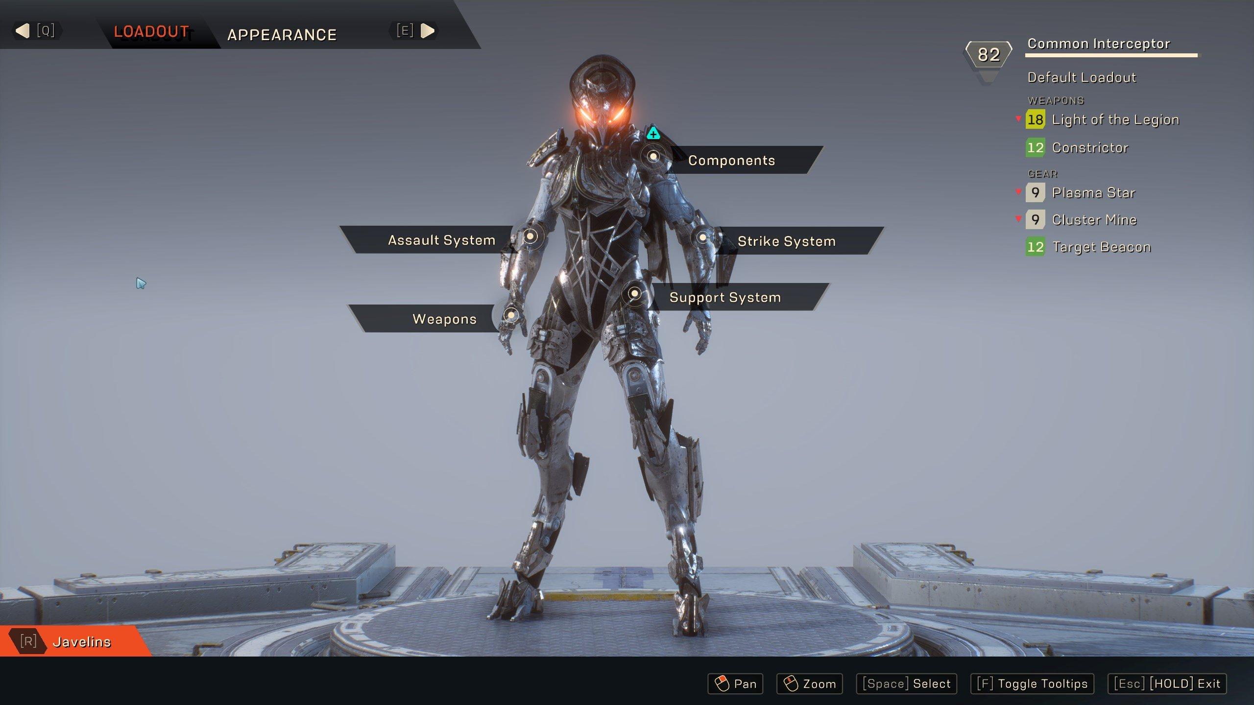 Anthem Javelin upgrade screen