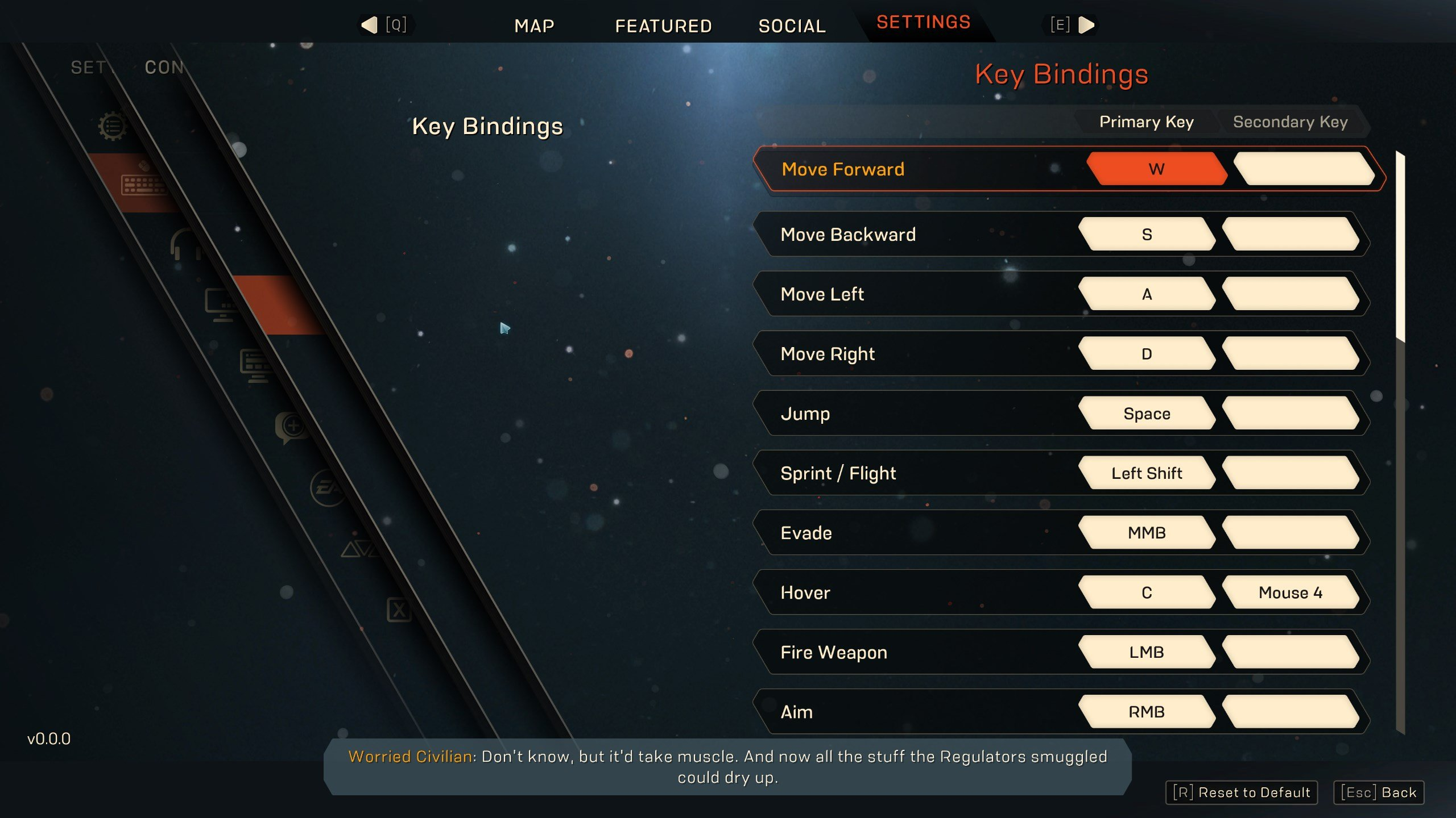 Anthem PC keybinds