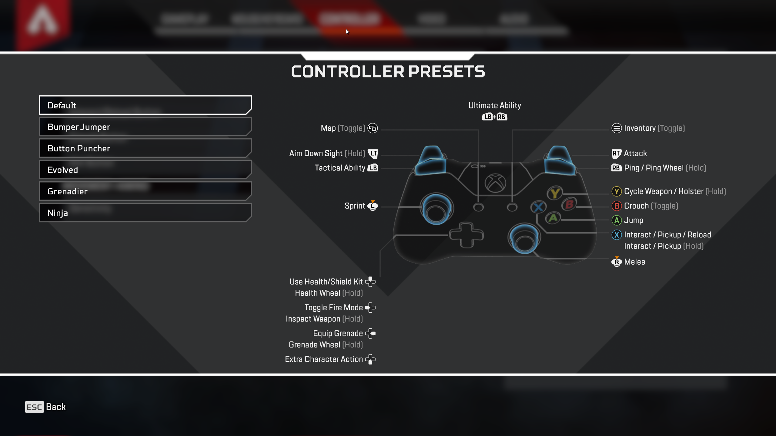 Apex Xbox controller settings