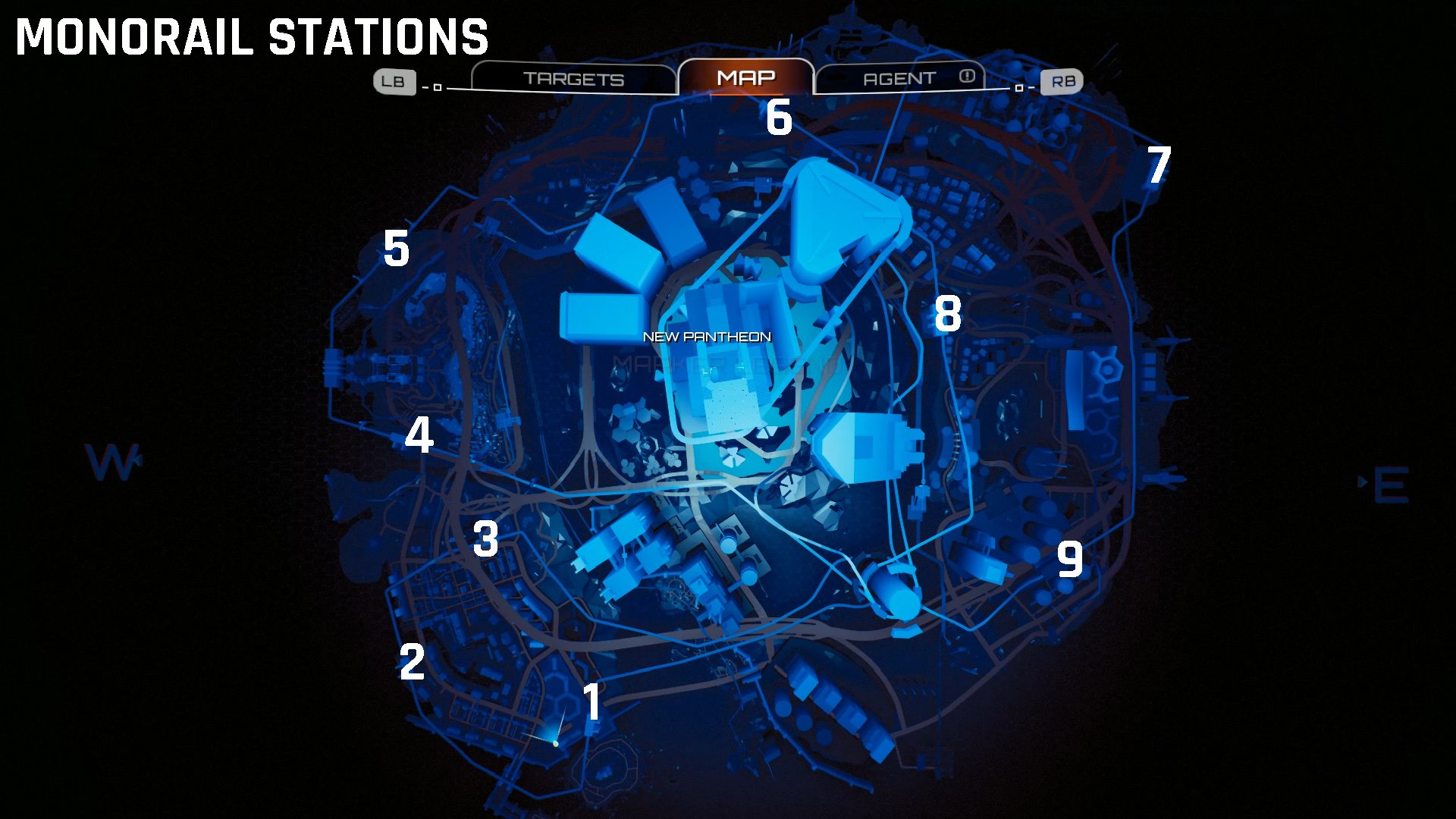 Monorail station locations Crackdown 3
