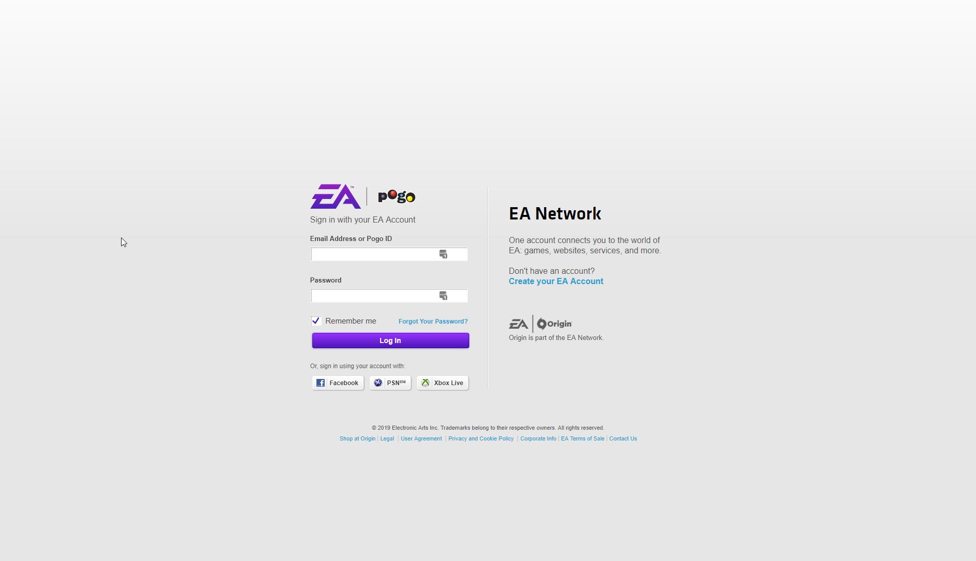 EA Help login page