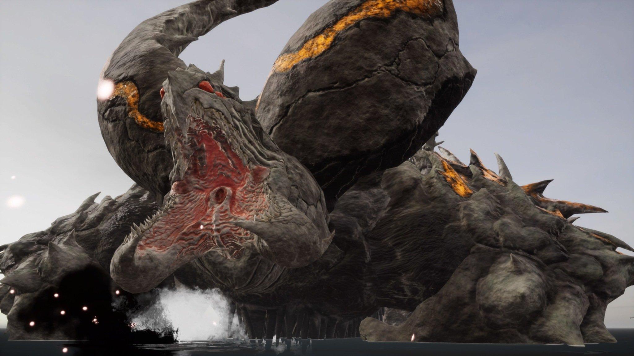 earth defense force iron rain screenshot a giant monster attacks