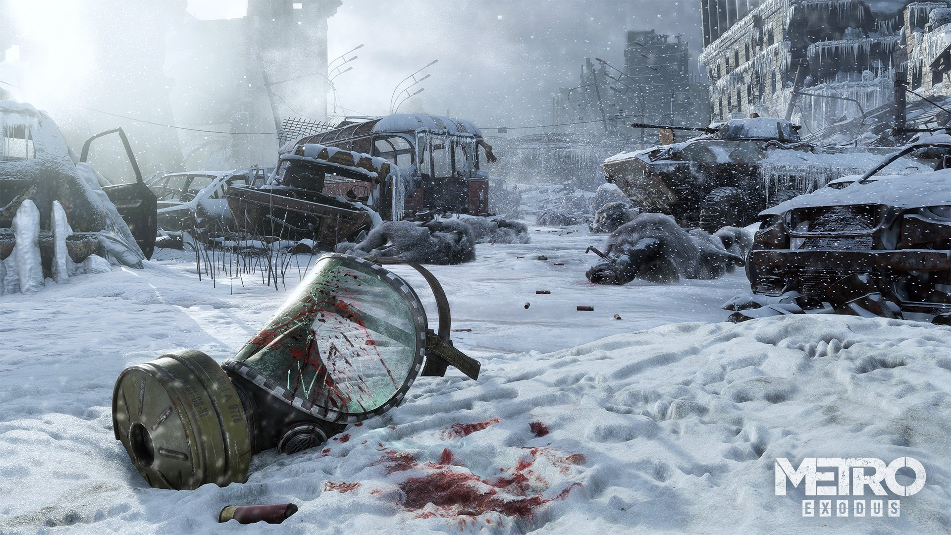 Metro Exodus gas mask in the dead city