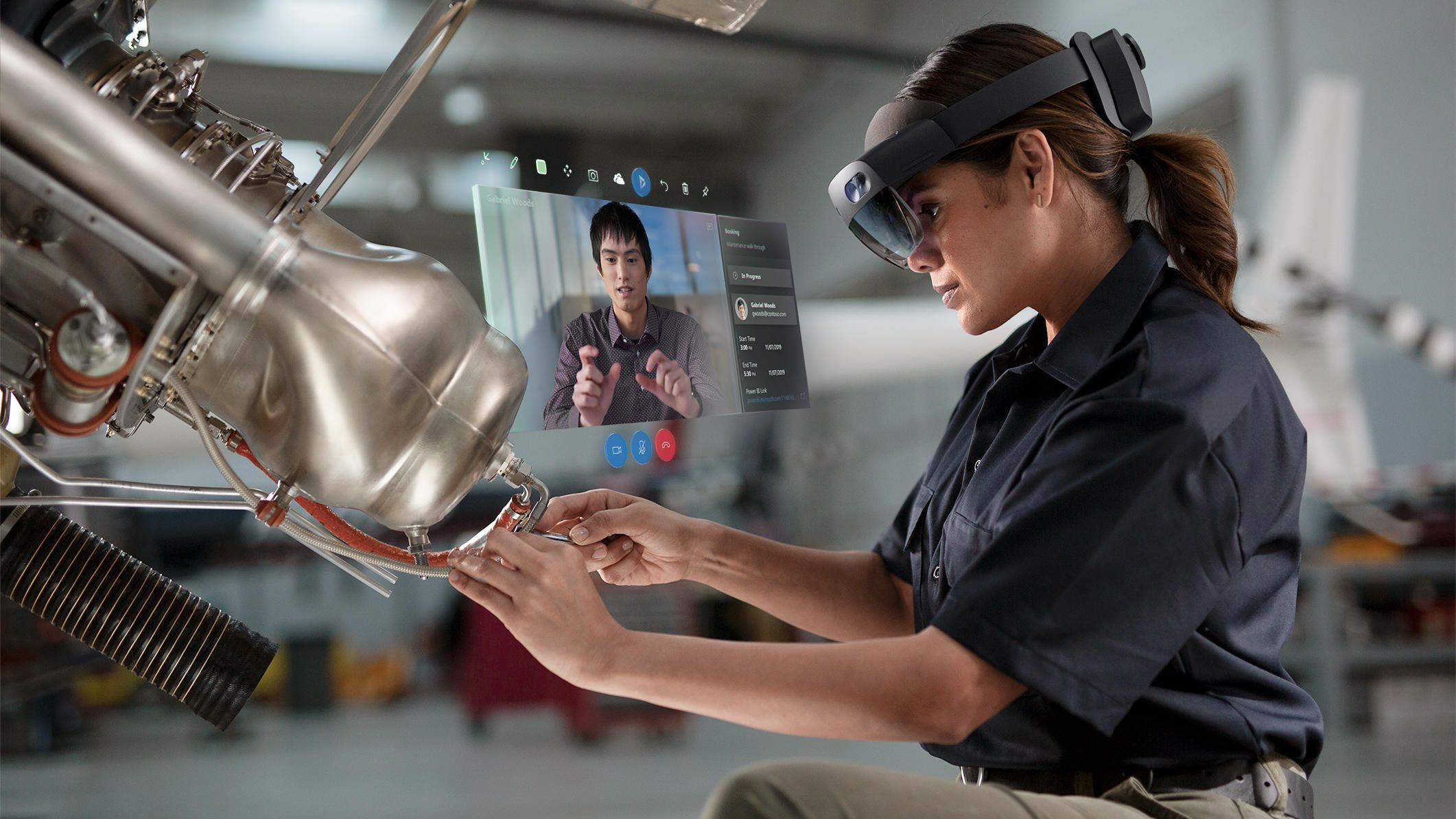 The Microsoft HoloLens 2 at work.