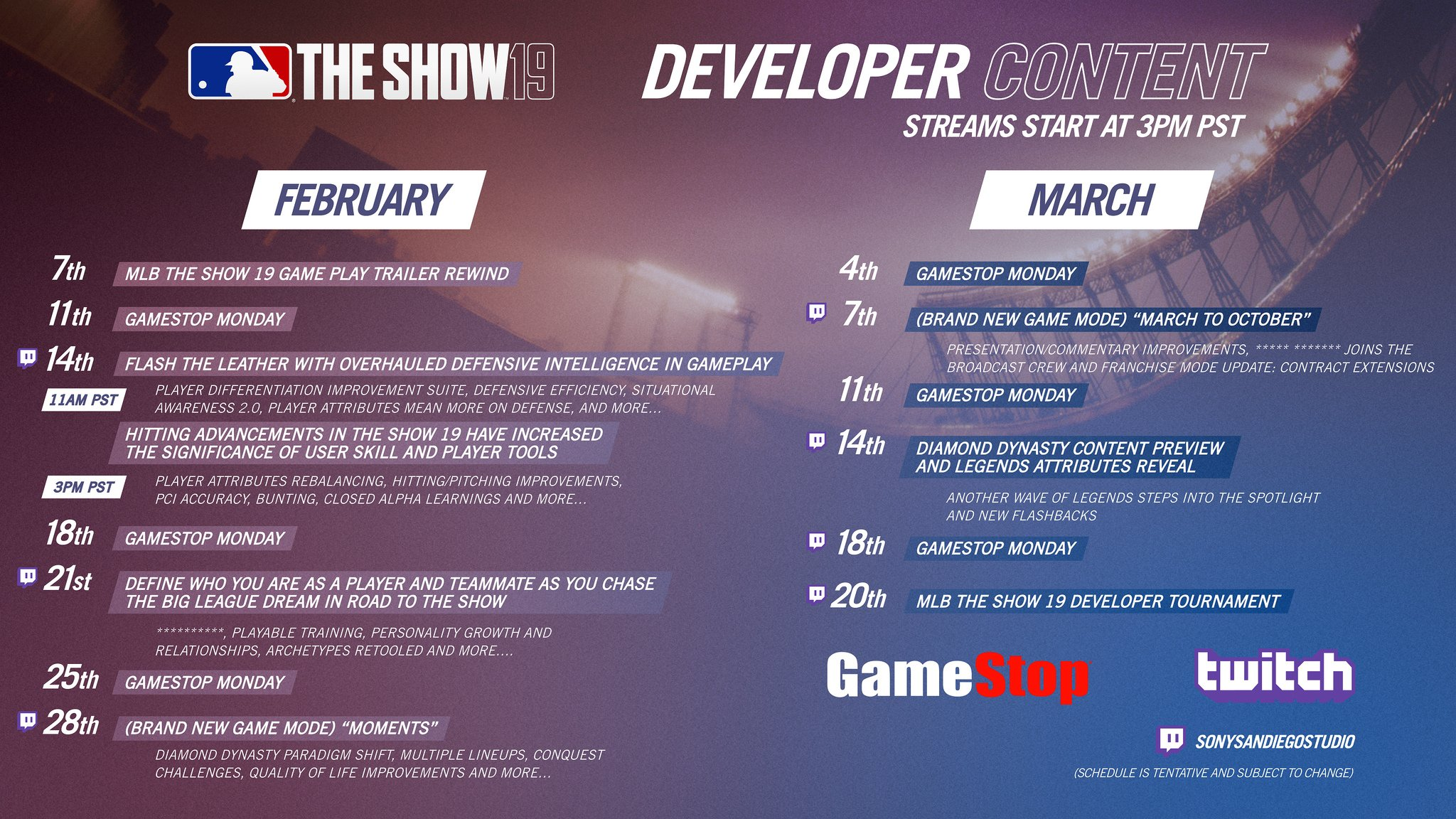 MLB The Show 19 Twitch schedule