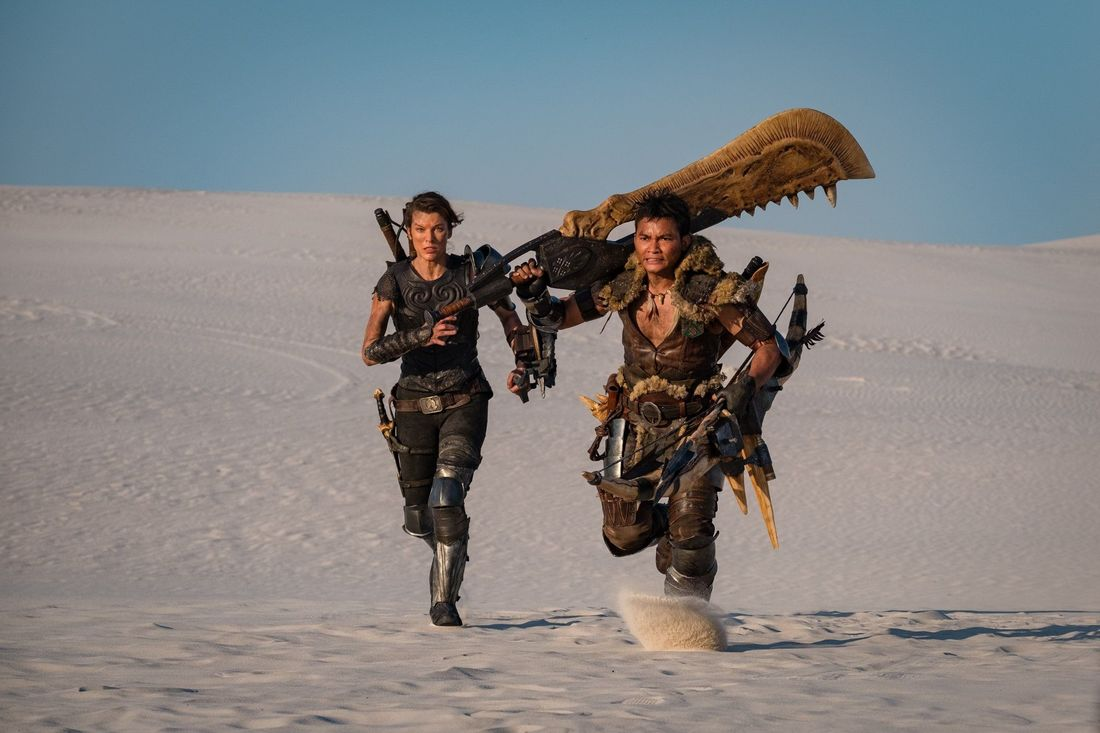 The first official image from the set of the upcoming Monster Hunter movie.