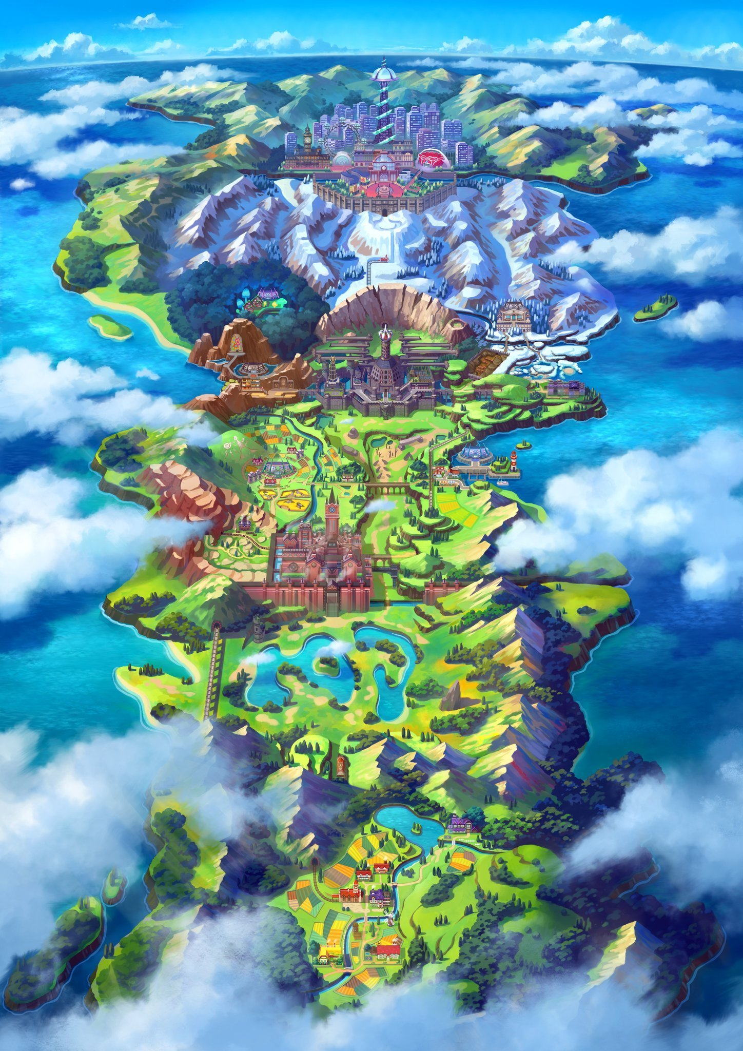 Pokemon Sword and Shield Galar Region Map