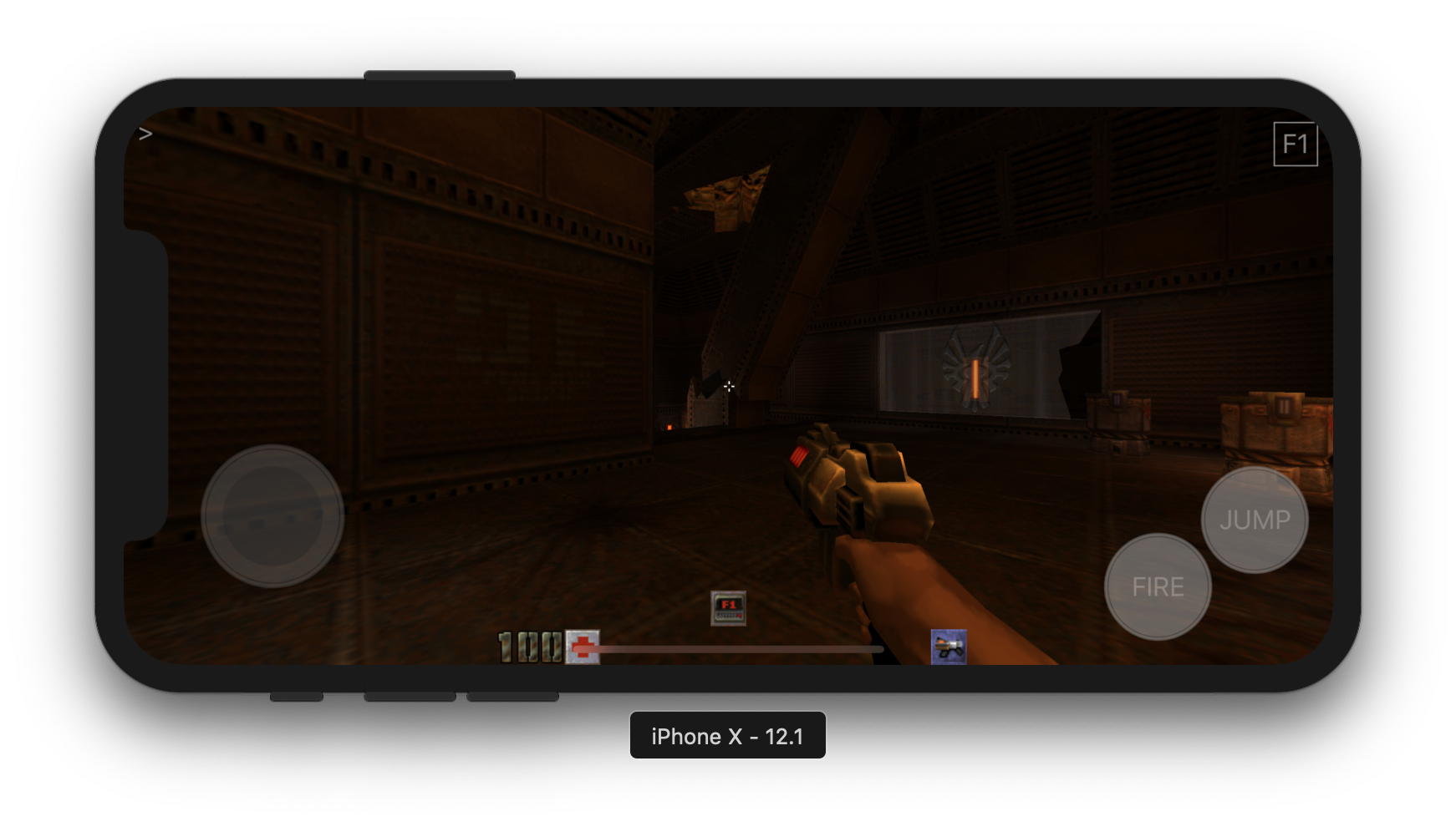 Schnapple's iOS port of Quake 2 features onscreen buttons and virtual analog.