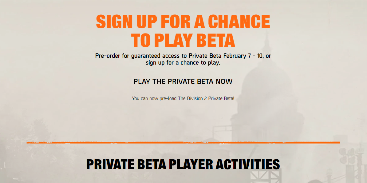 The Division 2 beta sign up page