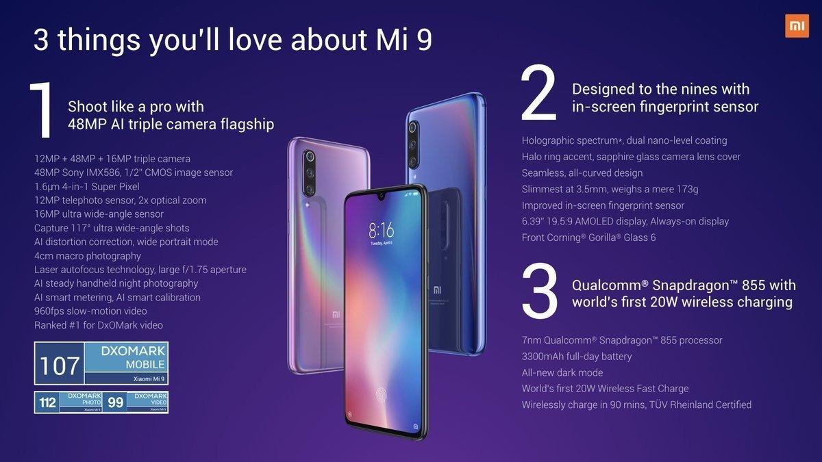 Xiaomi Mi 9 specifiche