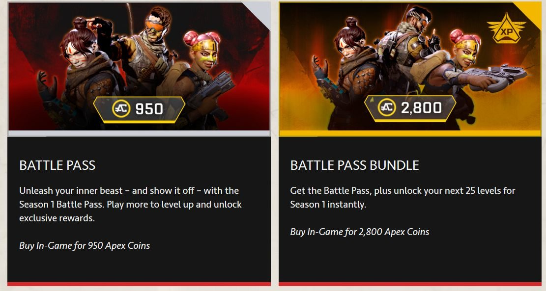 Apex Legends battle pass season 1 wild frontier battle royale respawn EA