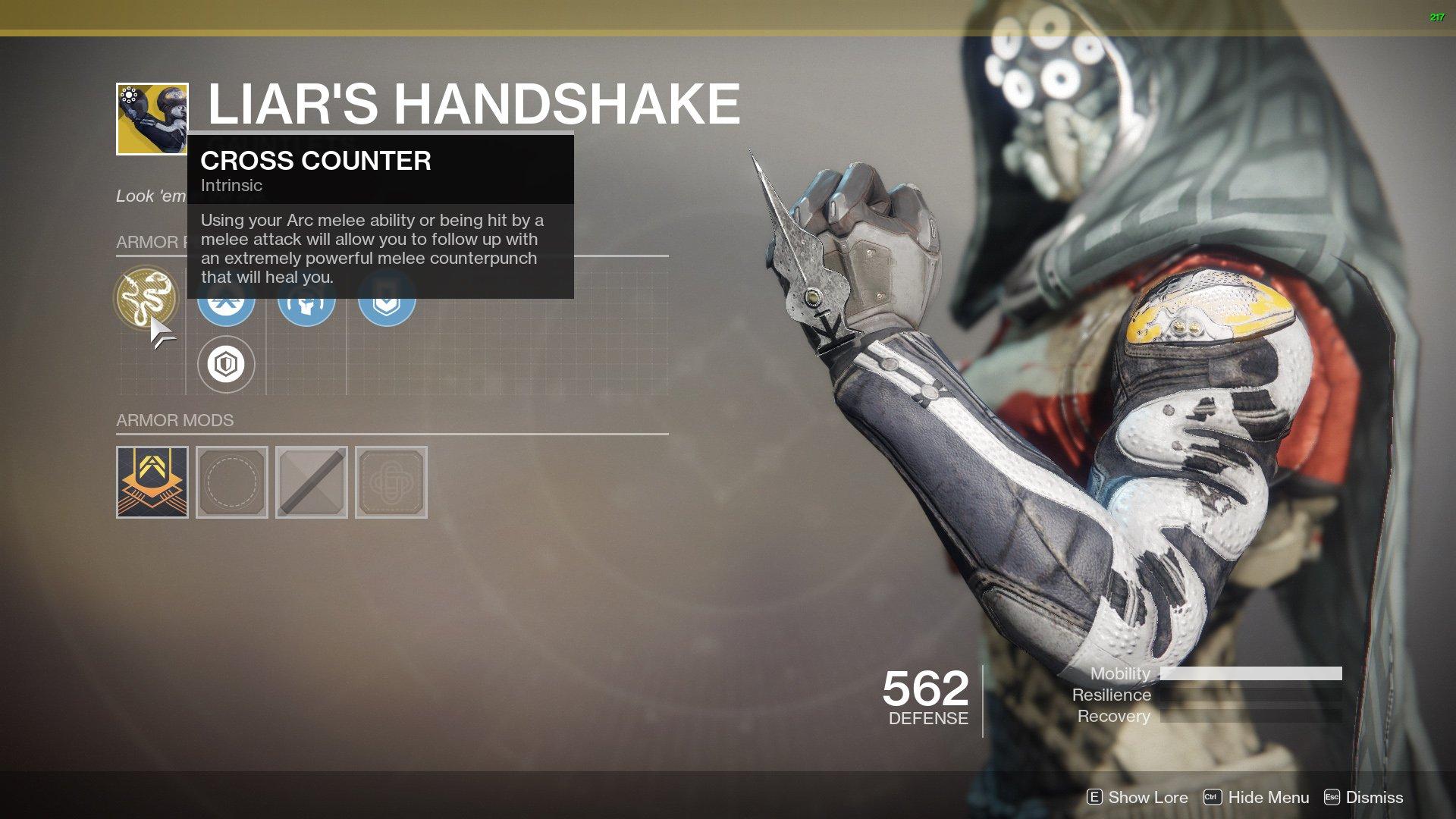 Destiny 2 Exotic Hunter armor Liar's Handshake