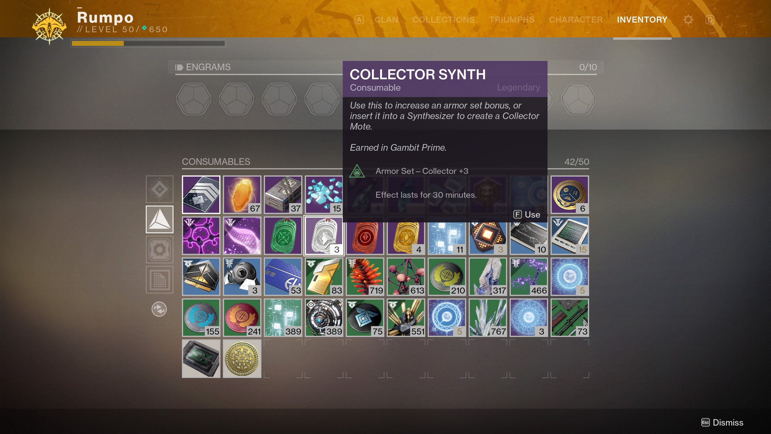 Destiny 2 Collector Synth details