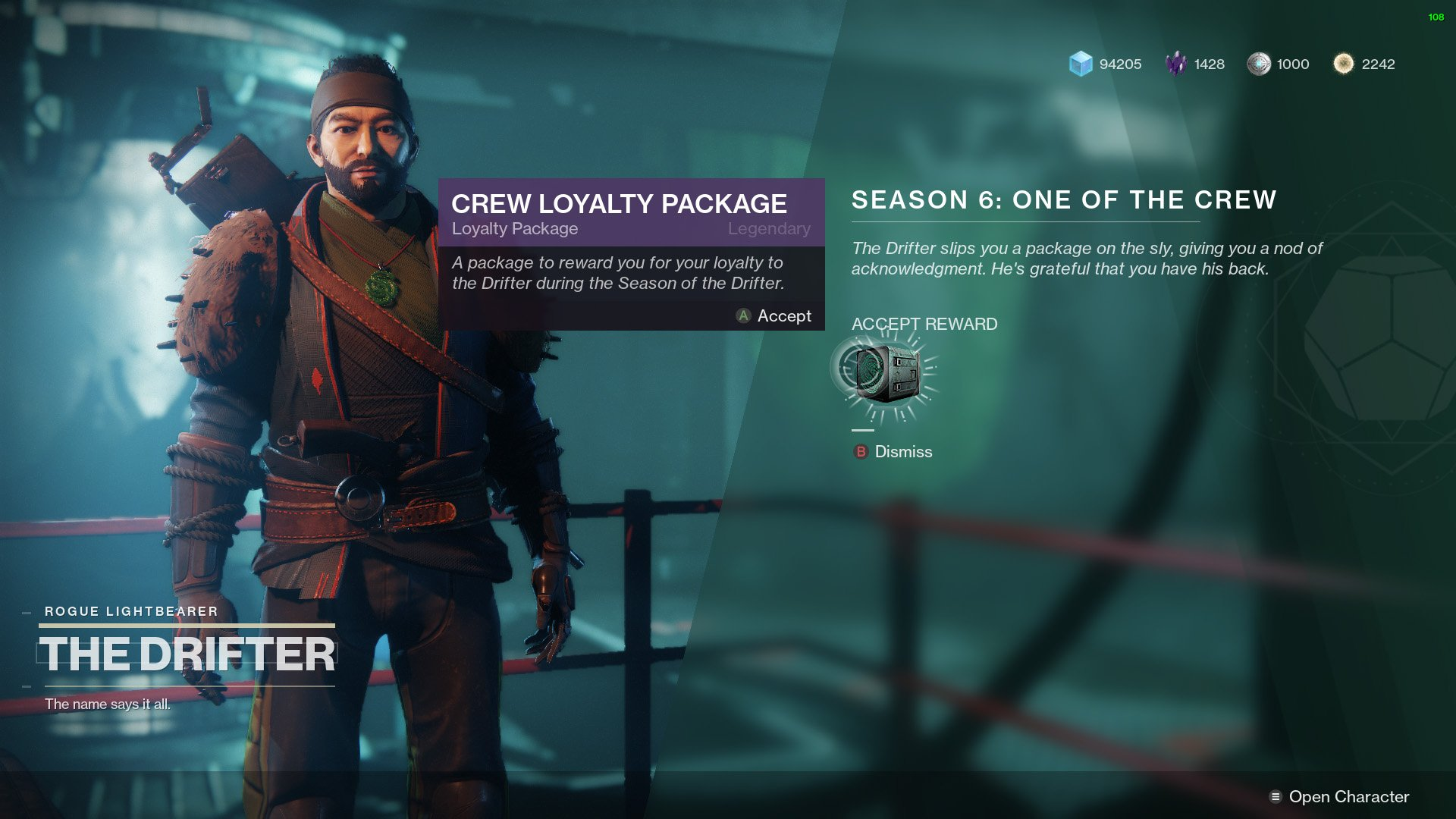 Destiny 2 Allegiance Drifter Crew Loyalty Package