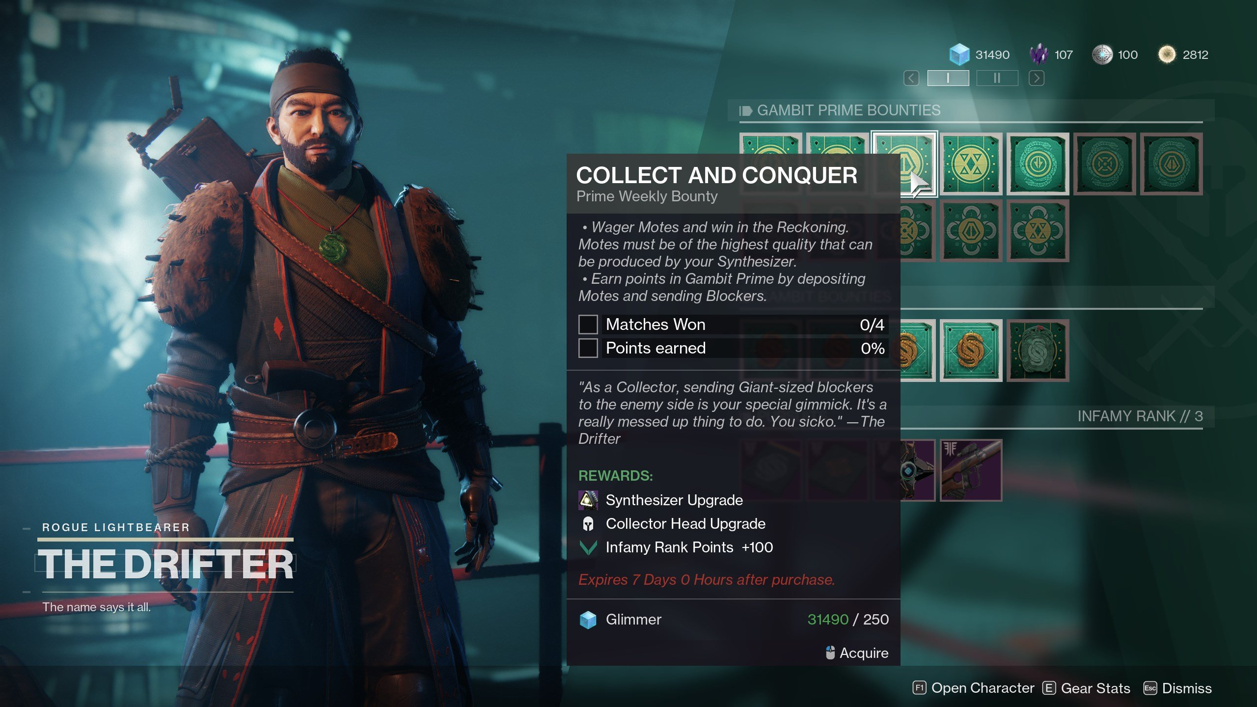 Destiny 2 how to upgrade to middling synthesizer - prime weekly bounties