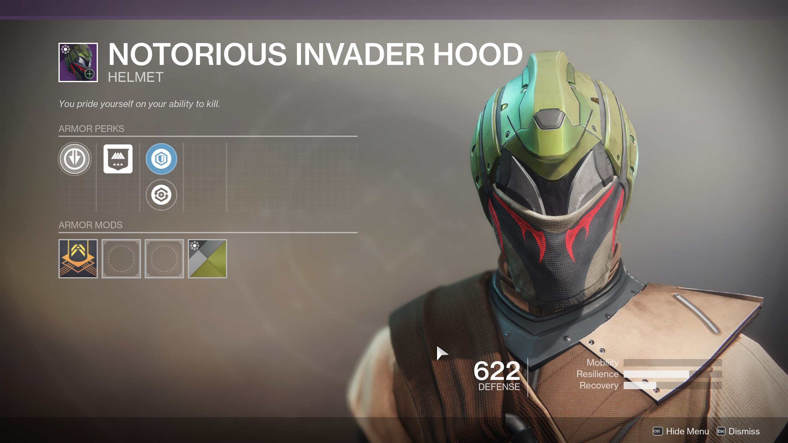 Destiny 2 Notorious Invader Hood