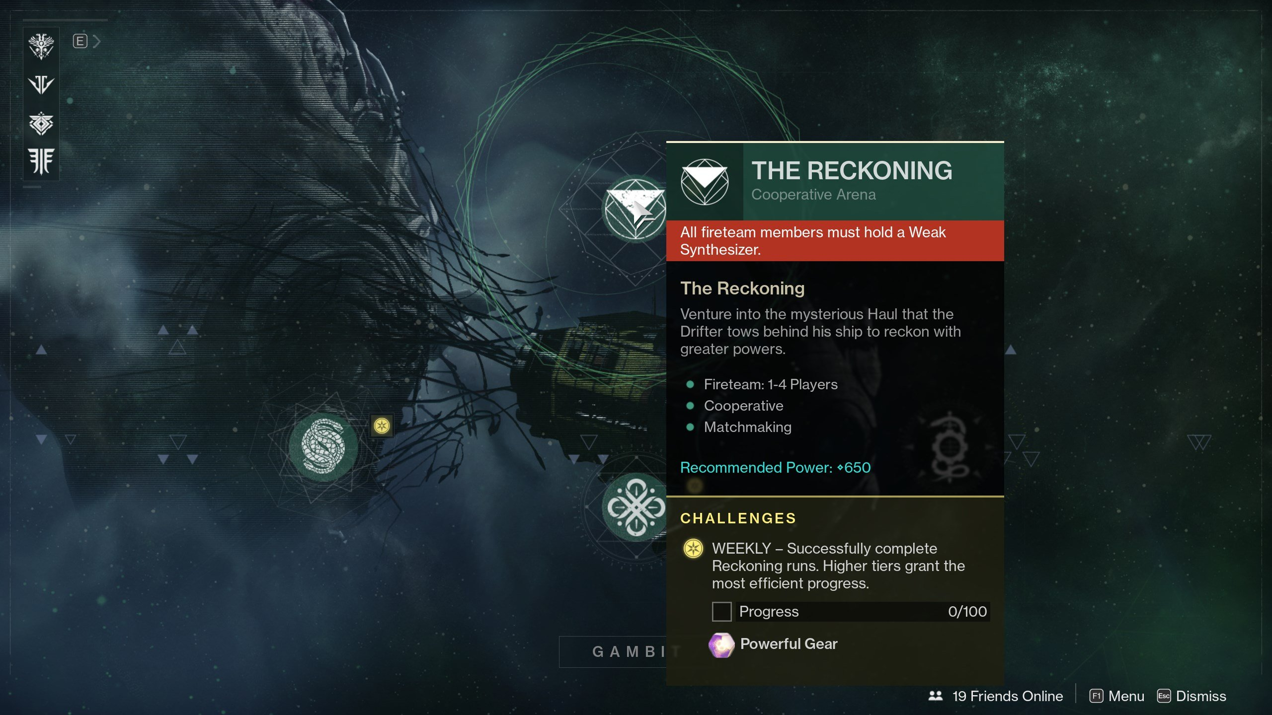 Destiny 2 The Reckoning requires Weak Synthesizer