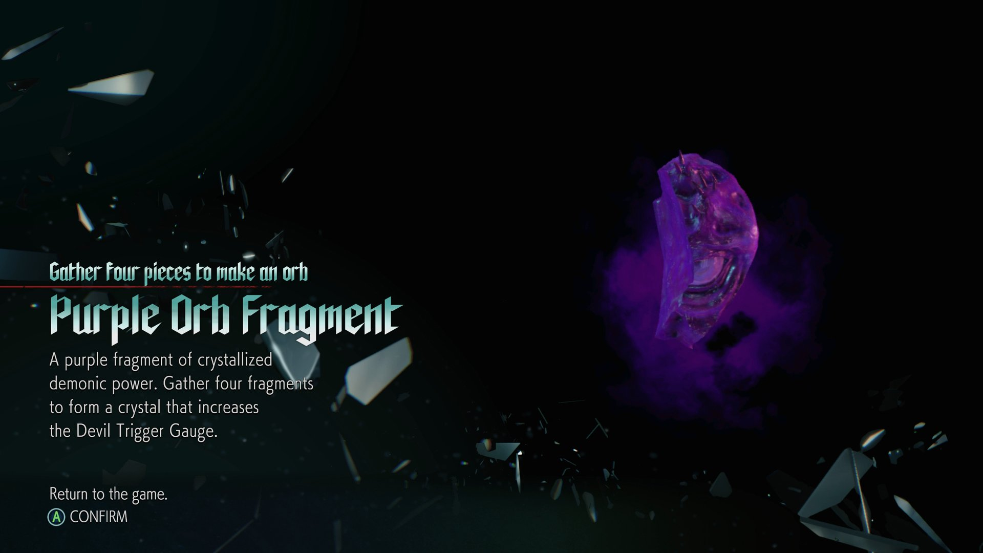 Purple orb fragments Devil May Cry 5
