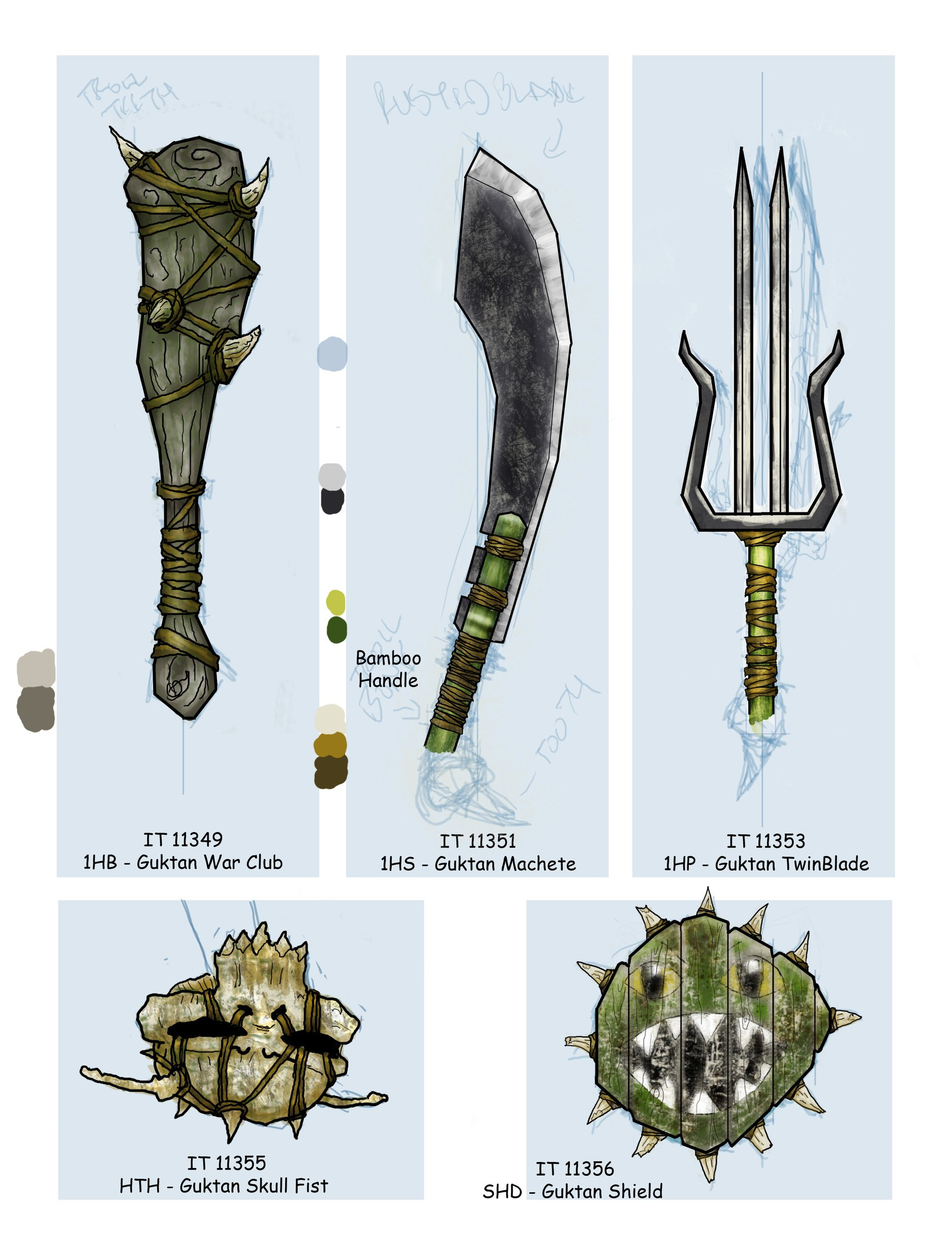 Illustrations of weapons by artist Kevin Burns. (Images courtesy of Burns' ArtStation page.)