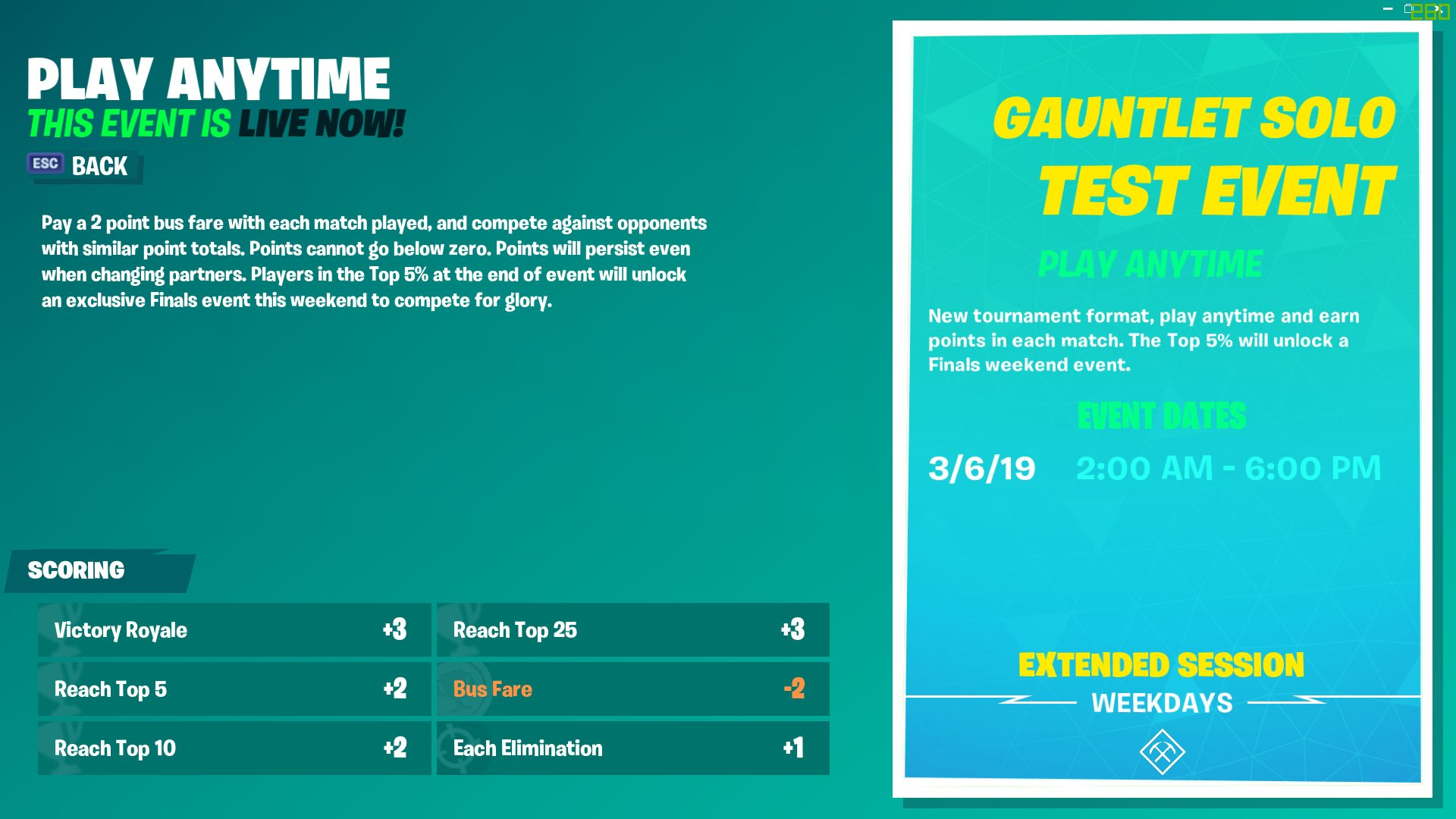 Pay the bus fare to join Fortnite Gauntlet Solo Test Event