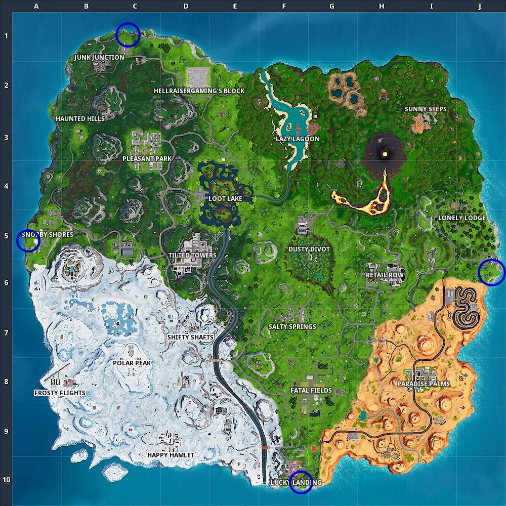 Fortnite - south, west, east and north most points on map