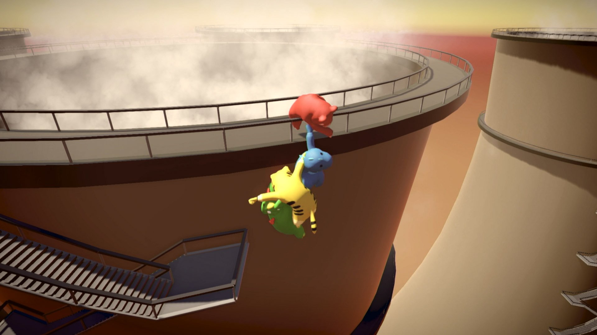 Gang Beasts Xbox One release - fighting on the edge of a tower
