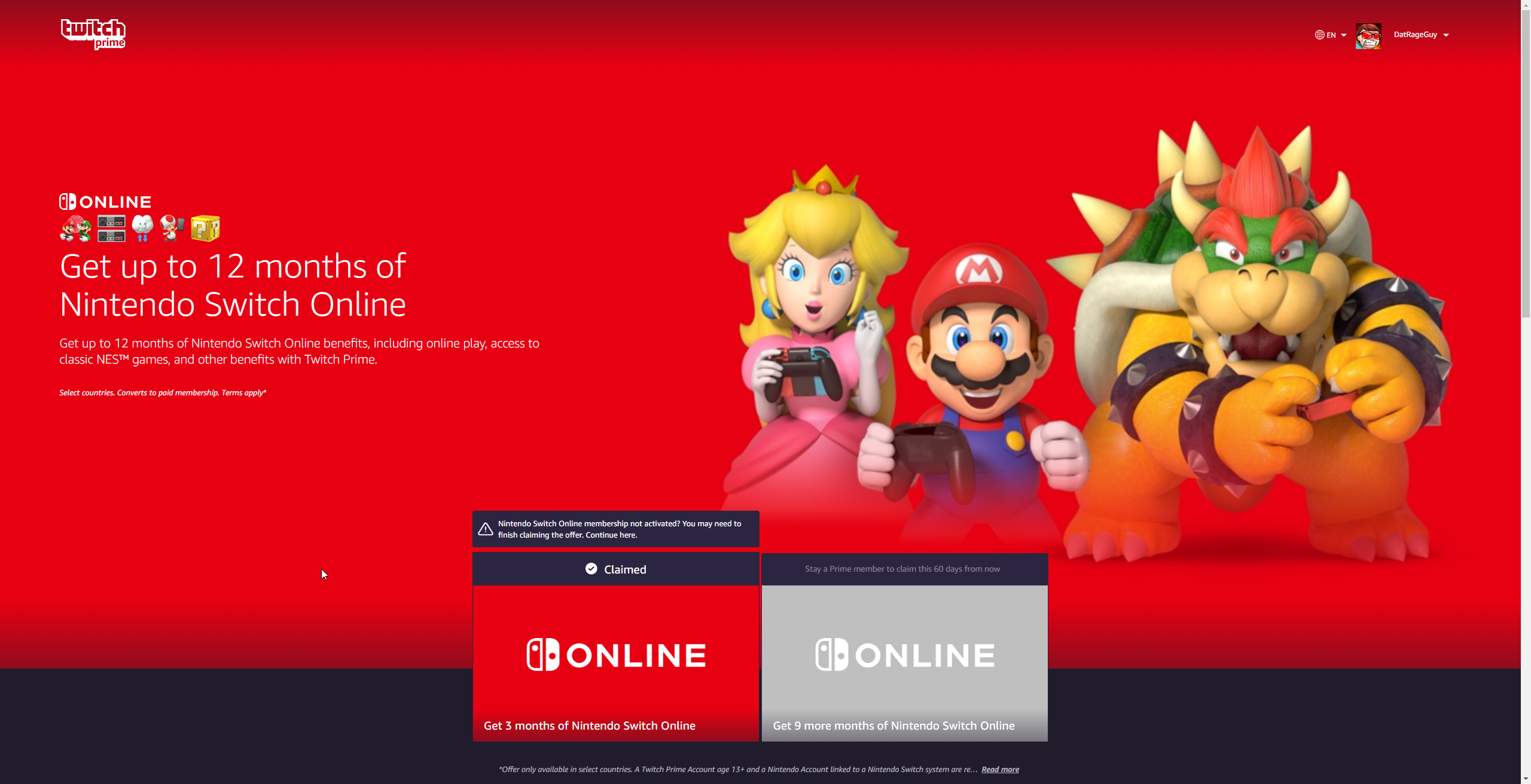 Get a free year of Nintendo Switch Online with Twitch Prime
