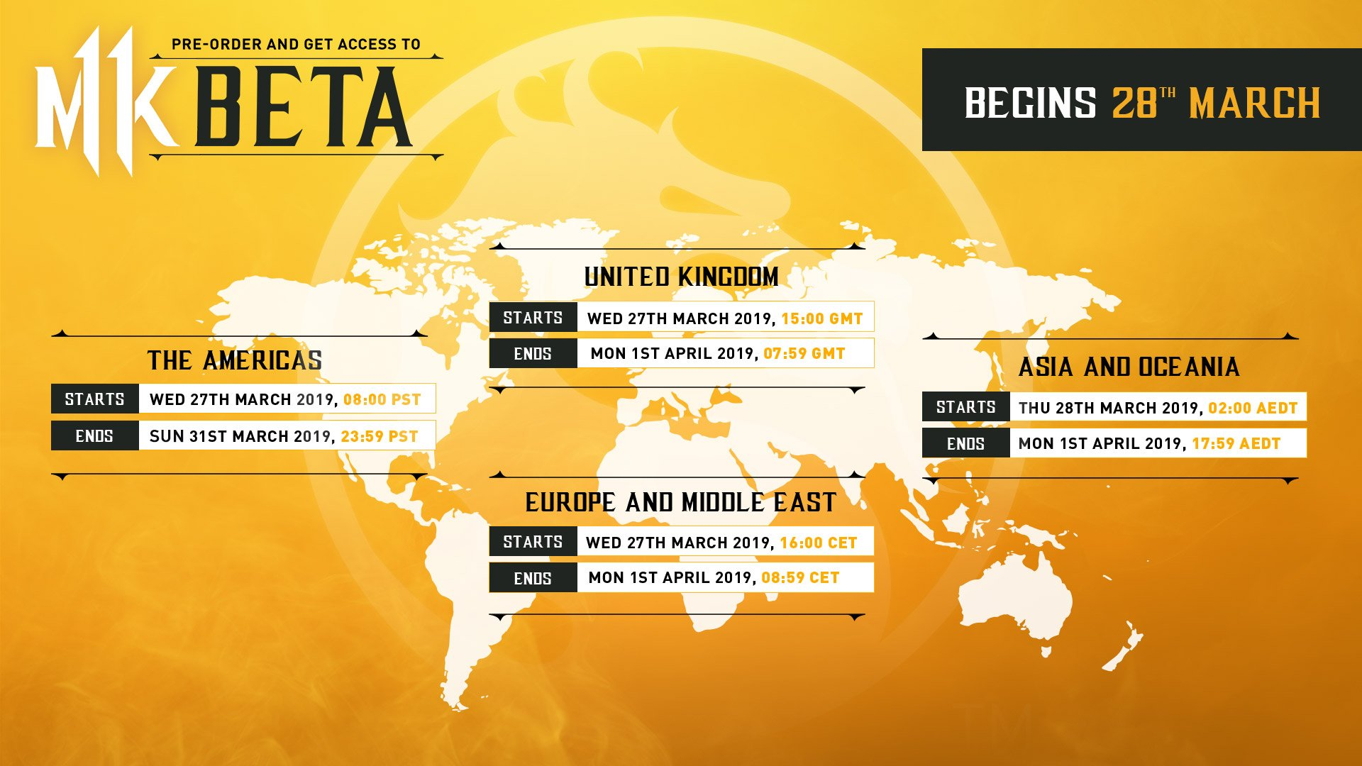 Mortal Kombat beta start and end times - beta infographic