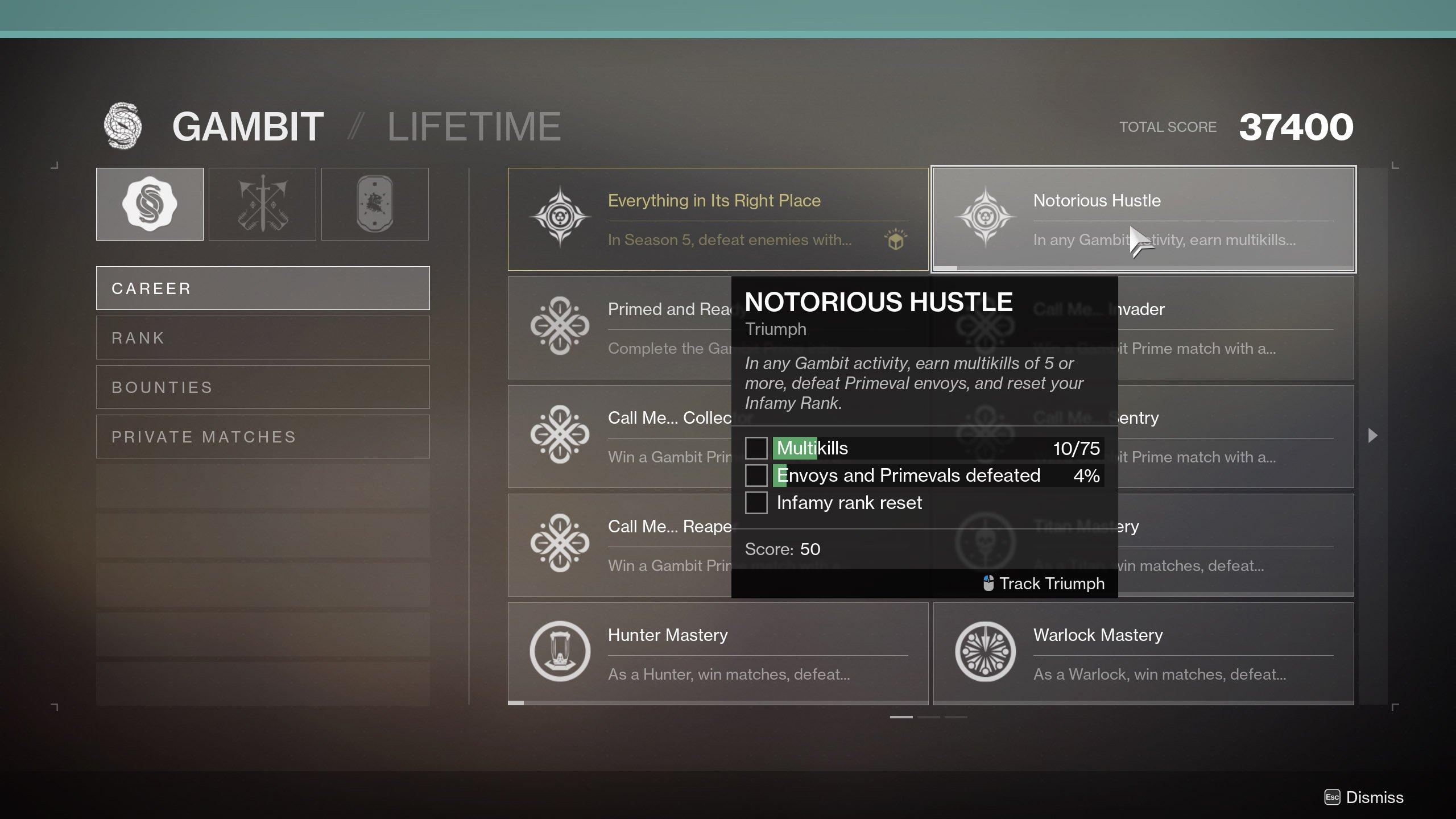 Destiny 2 21 percent delirium notorious hustle gambit triumph
