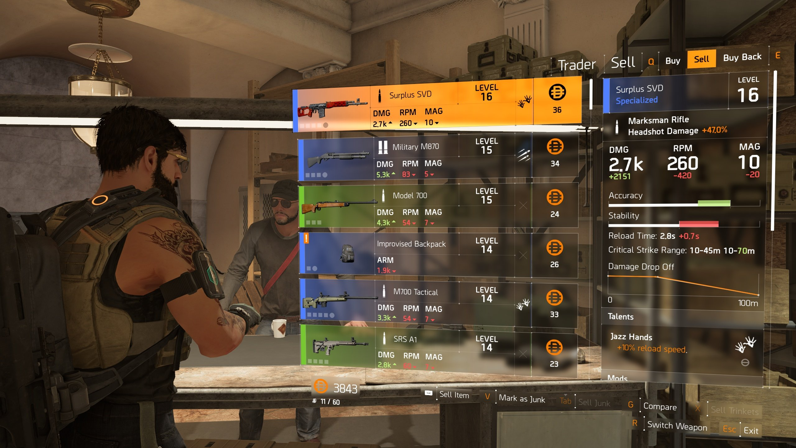 sell items at the vendor in The Division 2