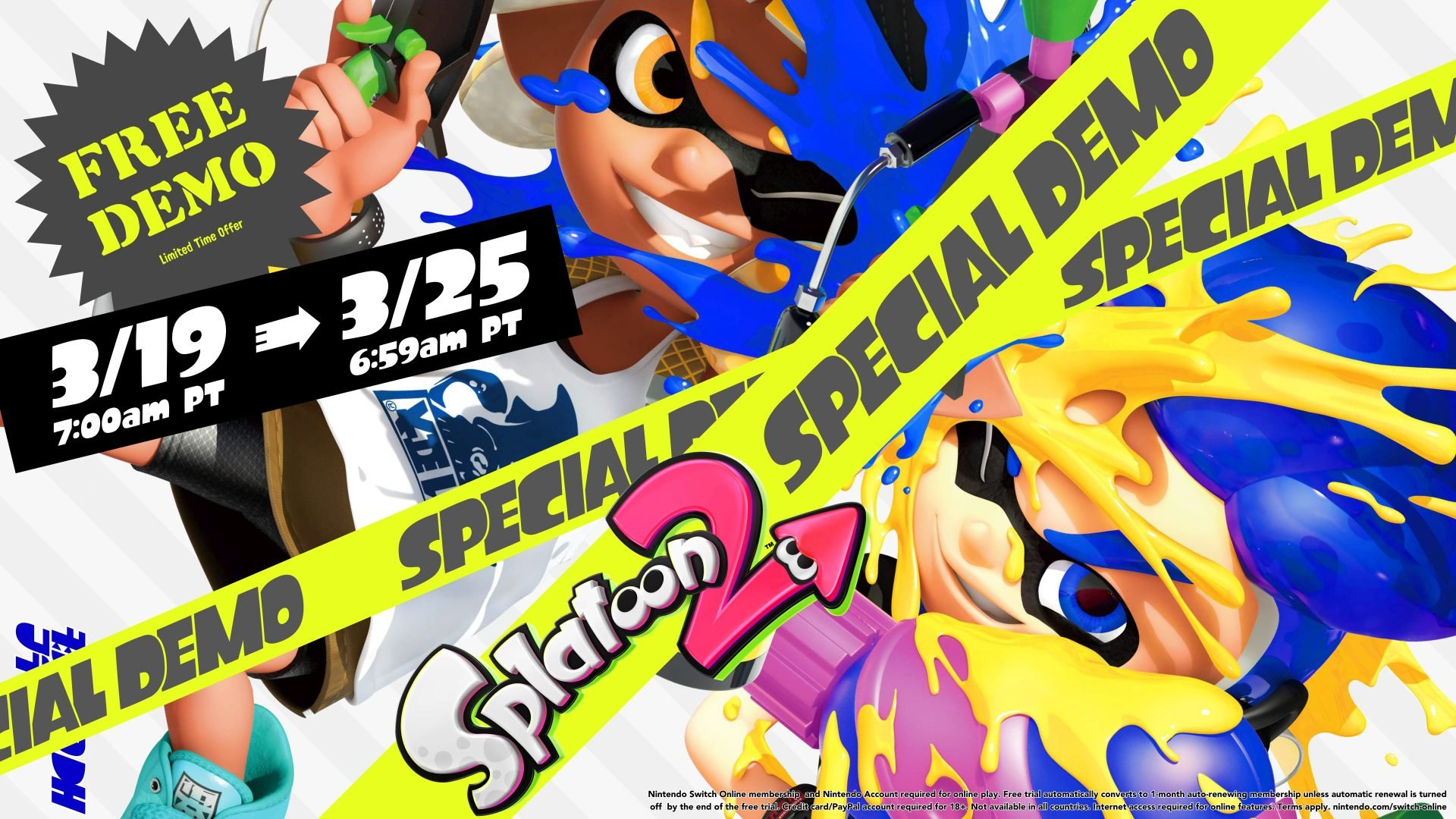 Splatoon 2 Special Demo Nintendo Switch Online free trial seven day 7 dates time