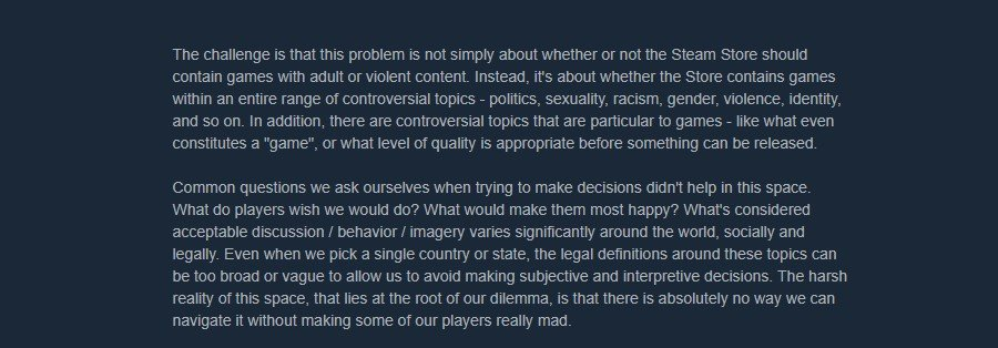 A portion of Steam's statement regarding its relaxed policy guidelines