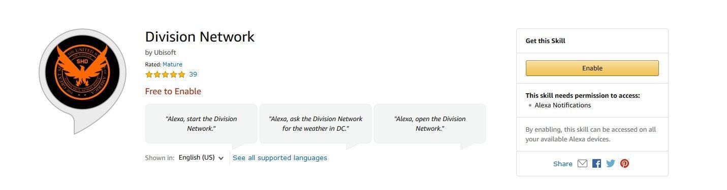 Alexa The Division 2 Skill Amazon Ubisoft application enable