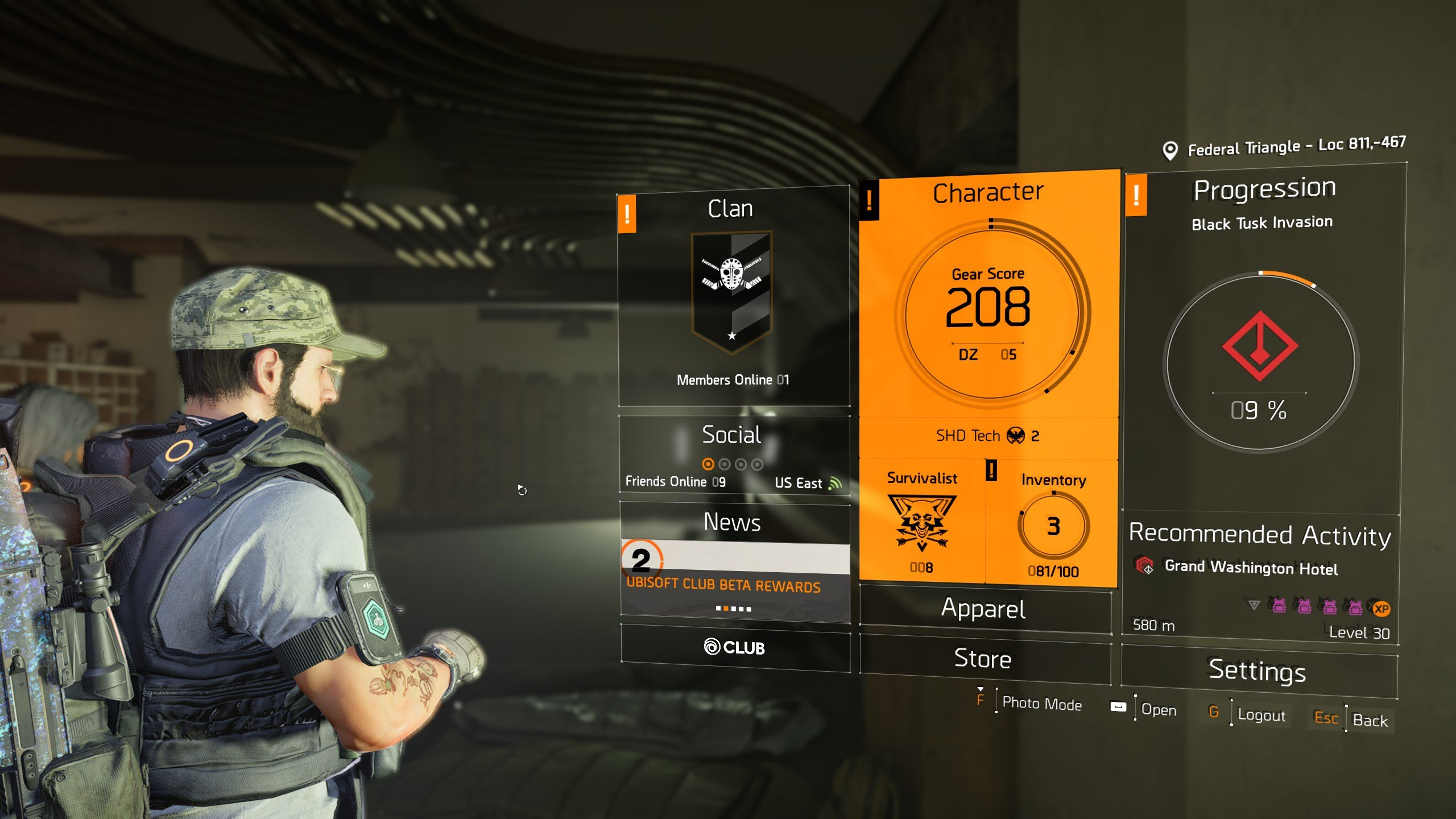 how to increase world tier in The Division 2 - gear score in character screen